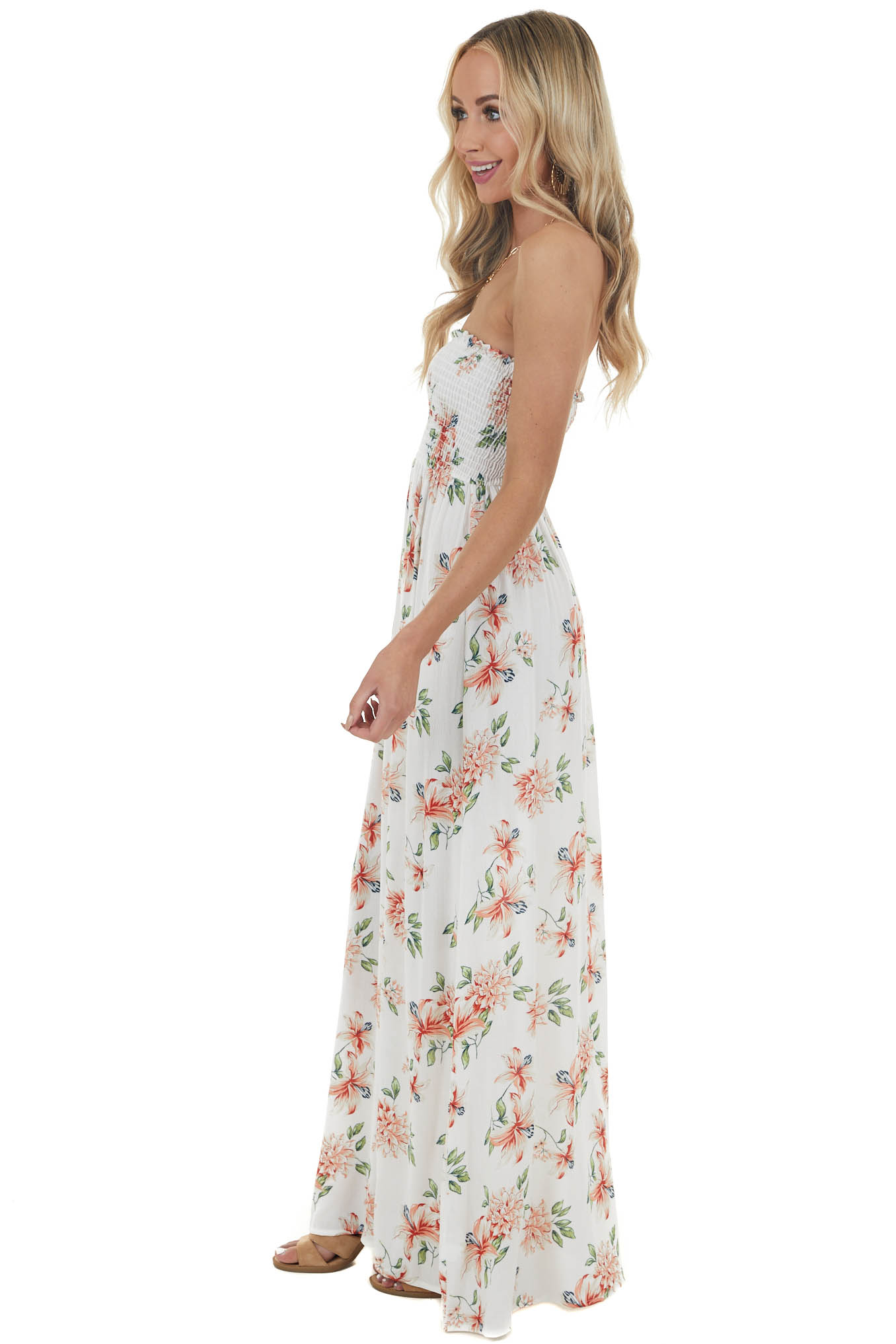 Ivory and Ruby Floral Print Maxi Dress with Smocked Bodice