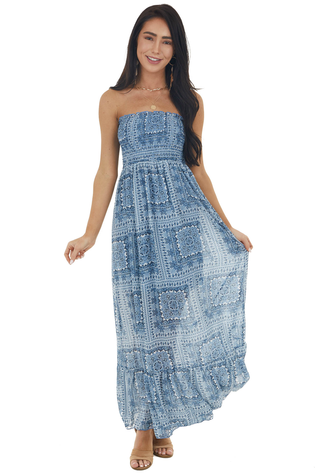 Ocean Blue Floral Paisley Print Strapless Smocked Maxi Dress