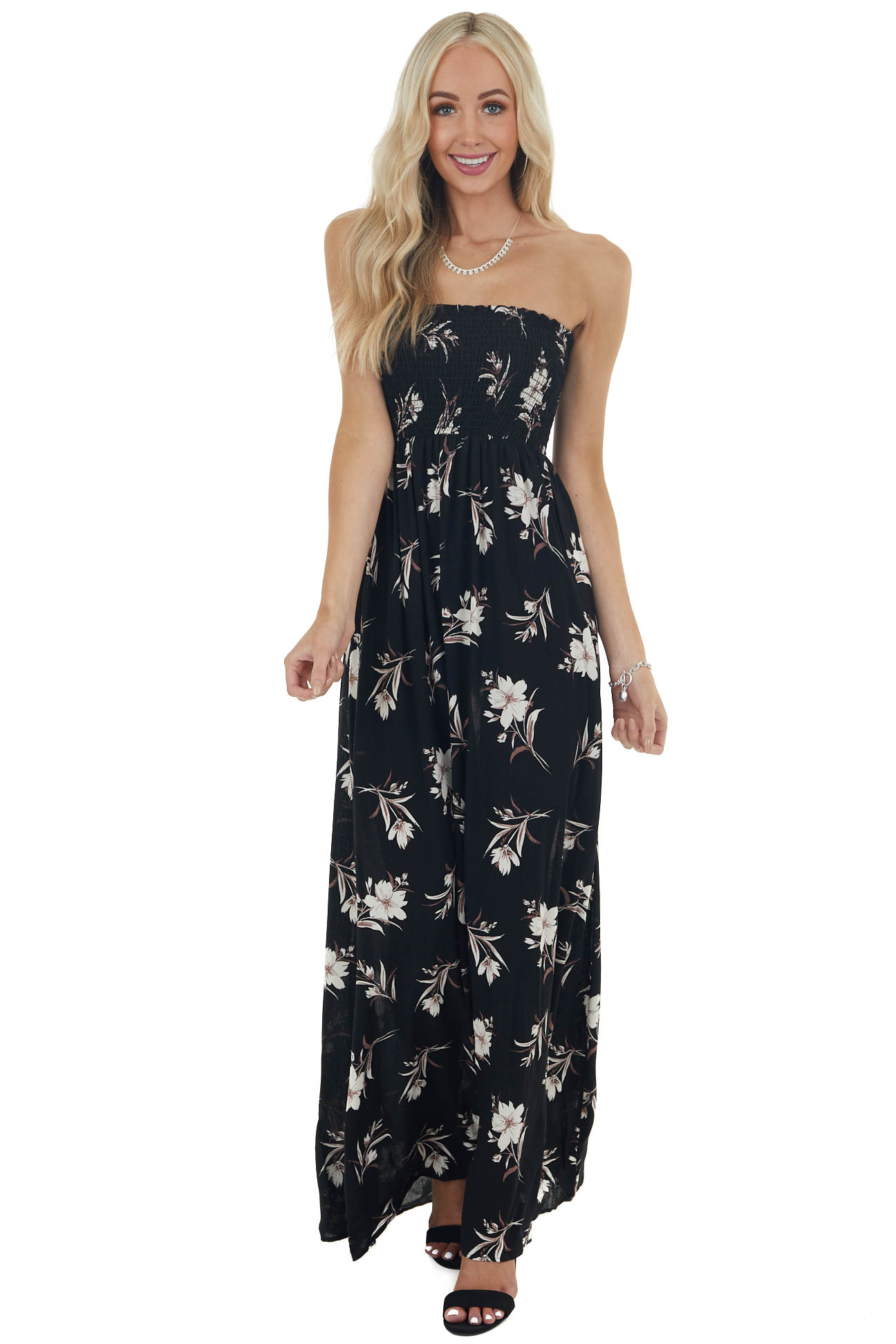 Black and Ivory Floral Print Maxi Dress with Smocked Bodice