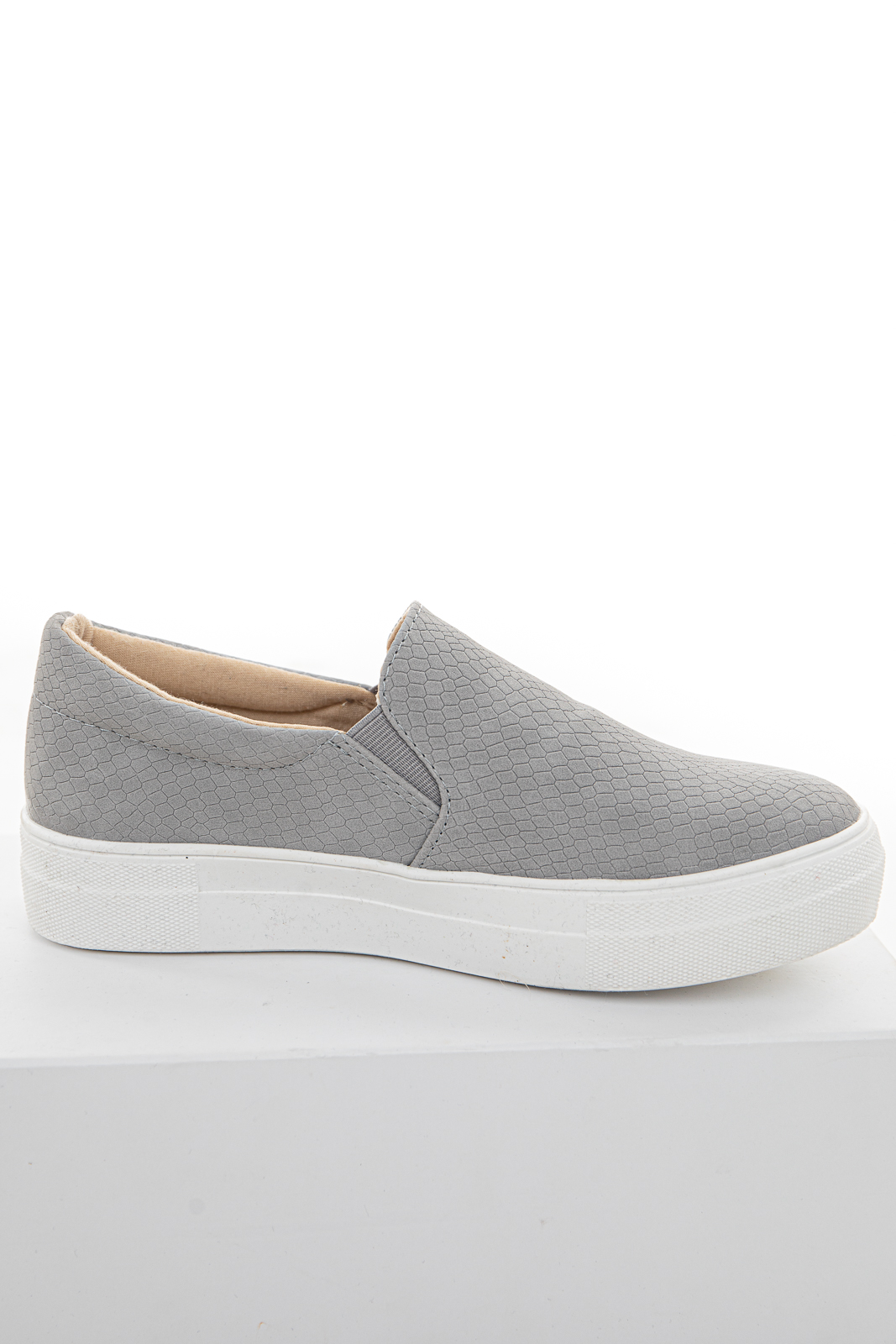 Steel Snakeskin Textured Slip On Sneakers with Rubber Soles