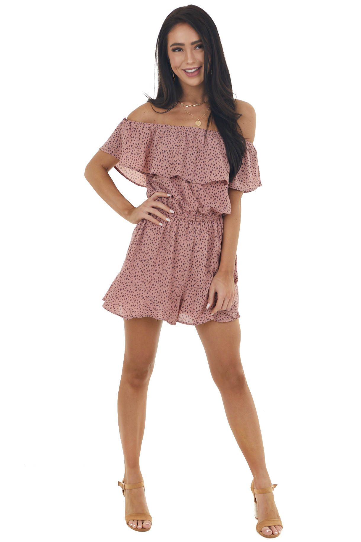 Dusty Rose Abstract Print Ruffle Off the Shoulder Romper