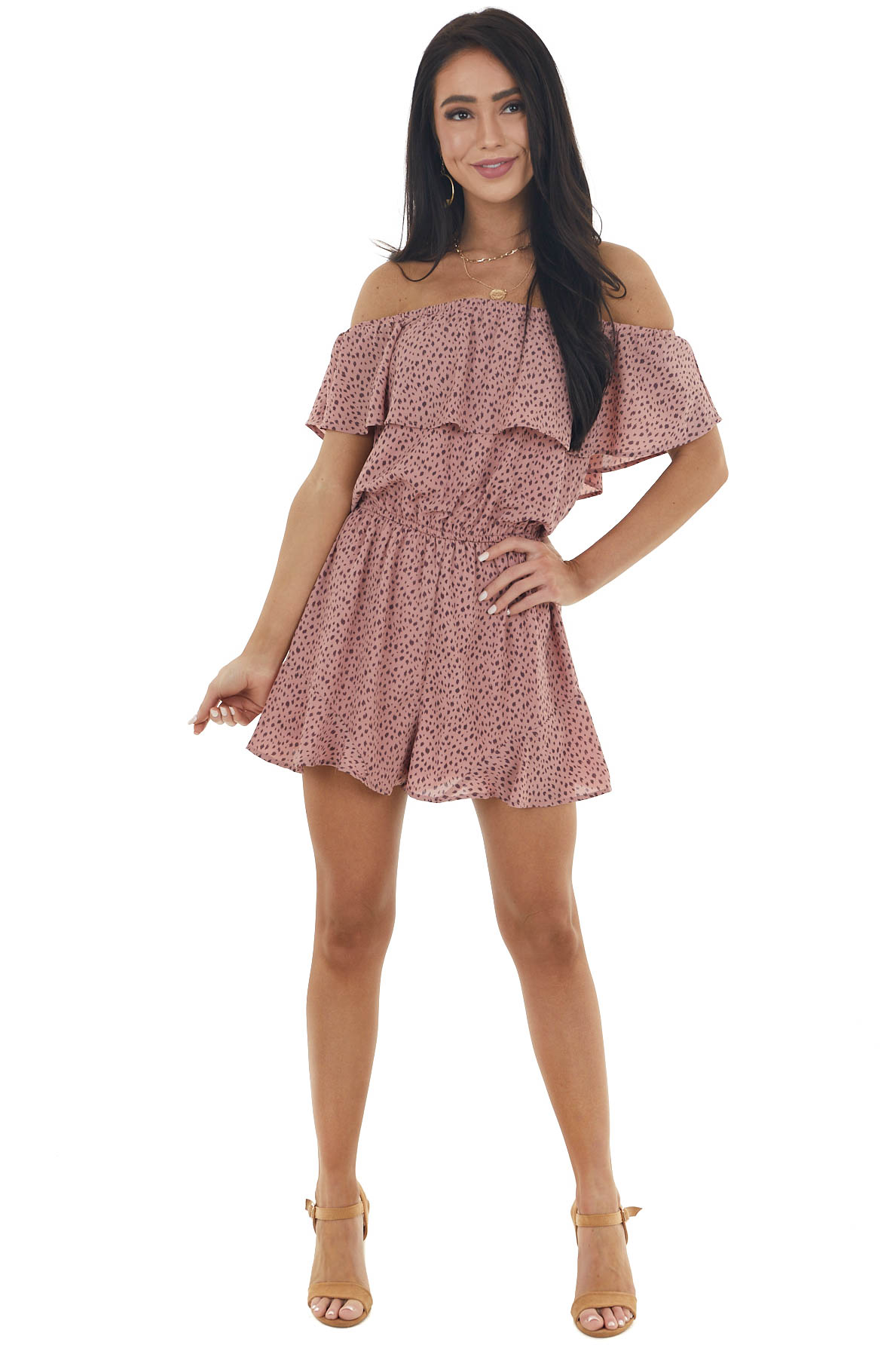 Dusty Rose Cheetah Print Ruffle Off the Shoulder Romper