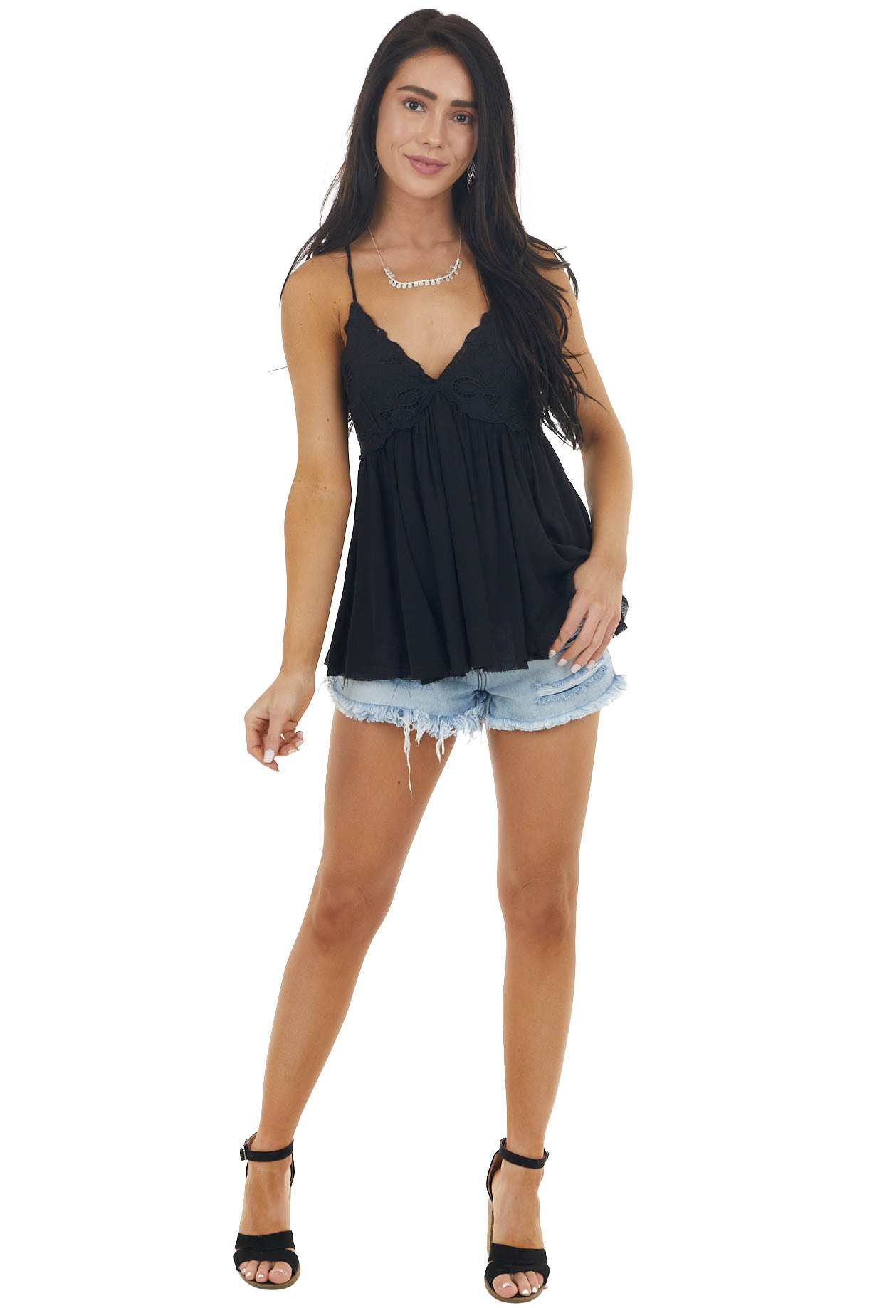 Black Lace Sleeveless Babydoll Top with Crisscross Straps