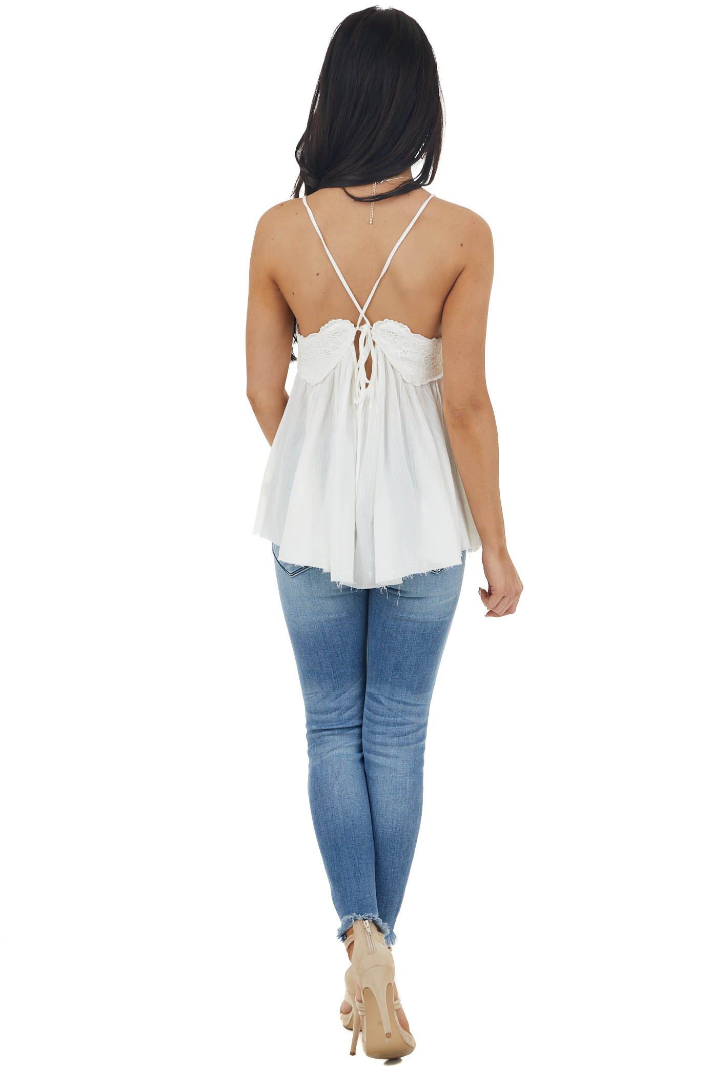 Ivory Lace Sleeveless Babydoll Top with Crisscross Straps