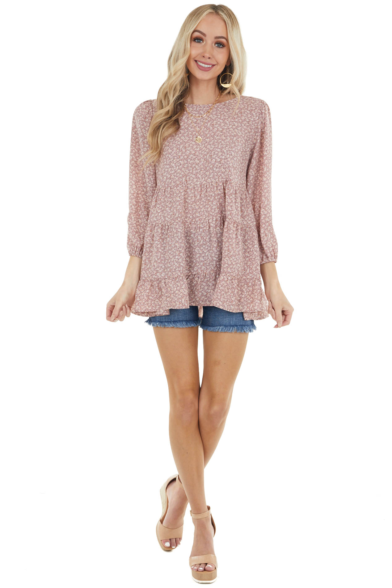 Dusty Rose Ditsy Floral Babydoll Tiered 3/4 Puff Sleeve Top