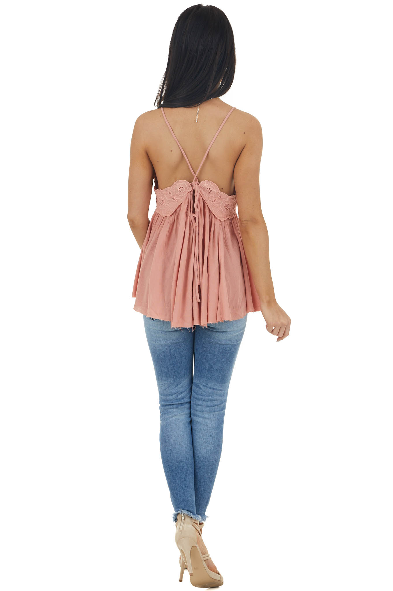 Peach Lace Sleeveless Babydoll Top with Crisscross Straps