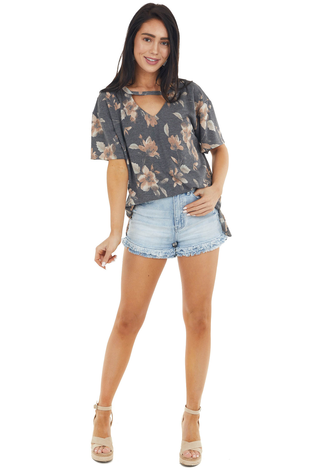 Latte Floral Print Short Sleeve Top with Cut Out Detail
