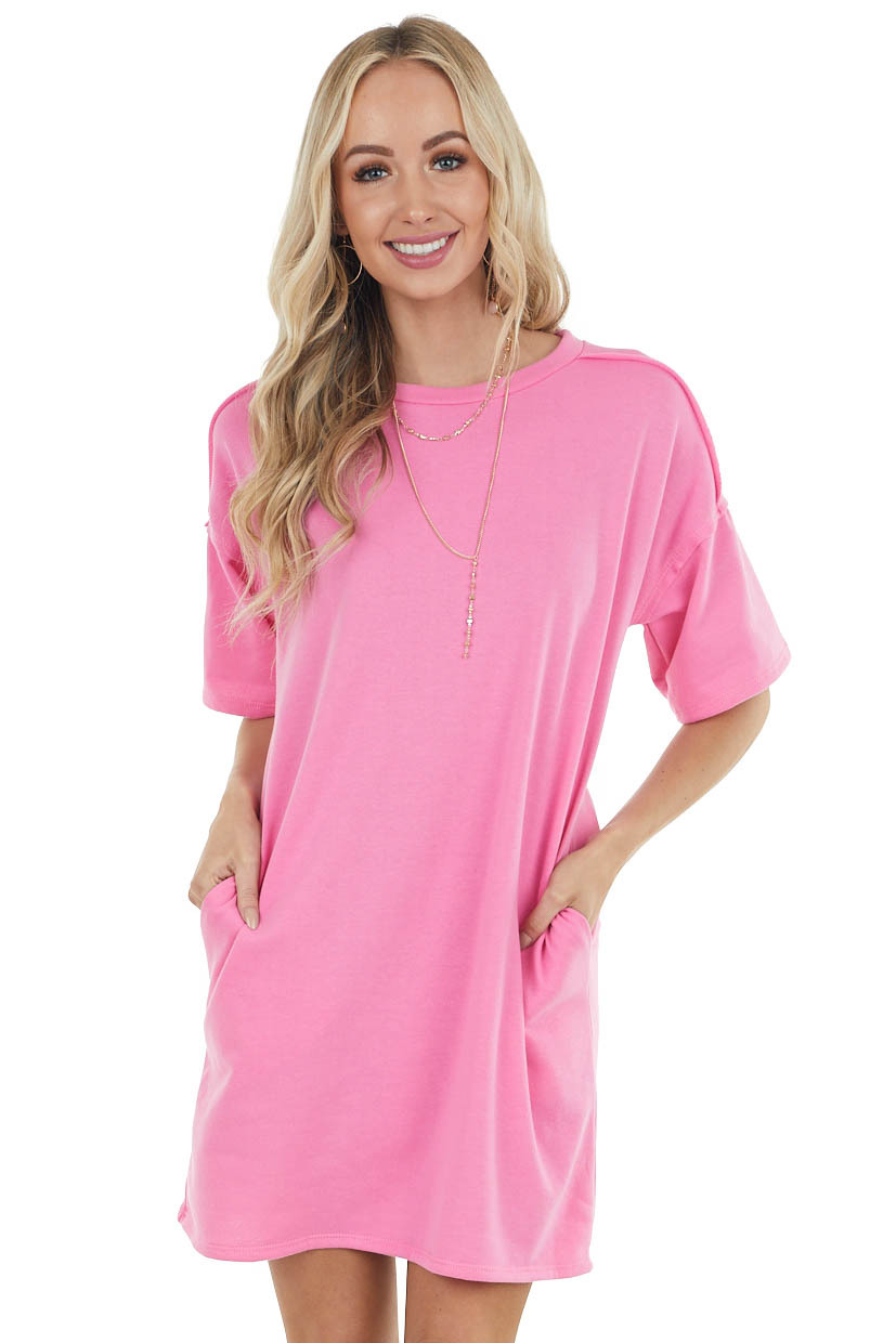 Bright Pink Dress with Side Pockets and Raw Seam Details