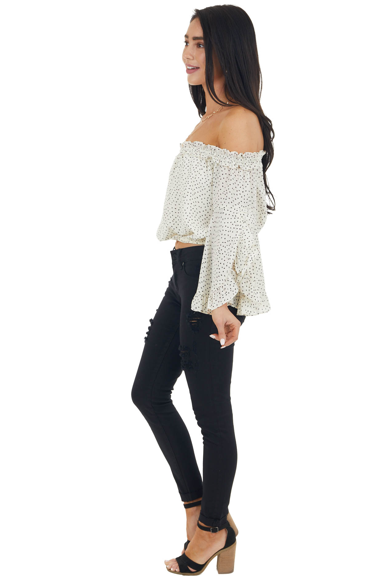 Cream Spotted Off Shoulder Crop Top with Long Bell Sleeves