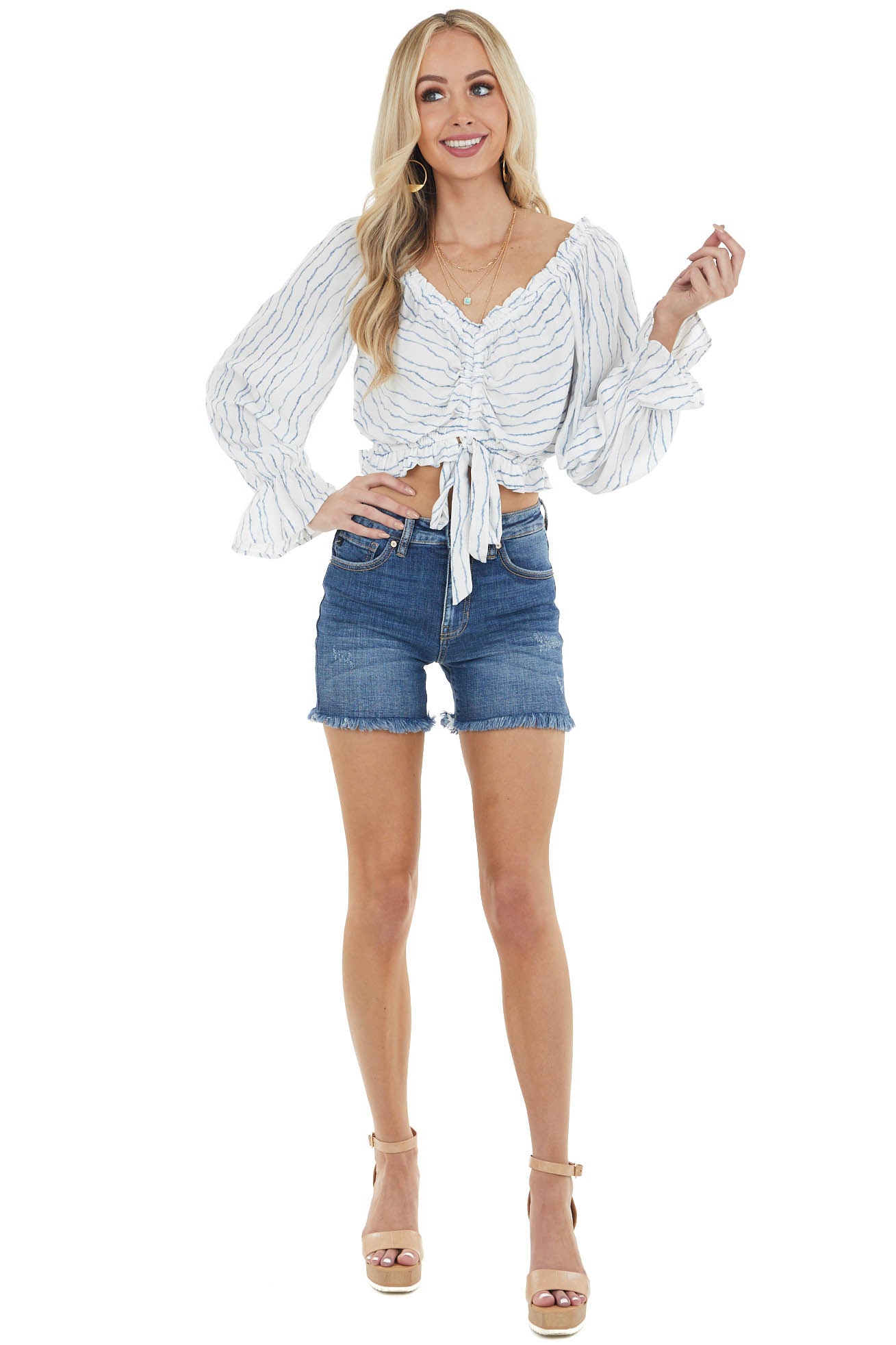 Ivory Striped Long Sleeve Crop Top with Tie Detail