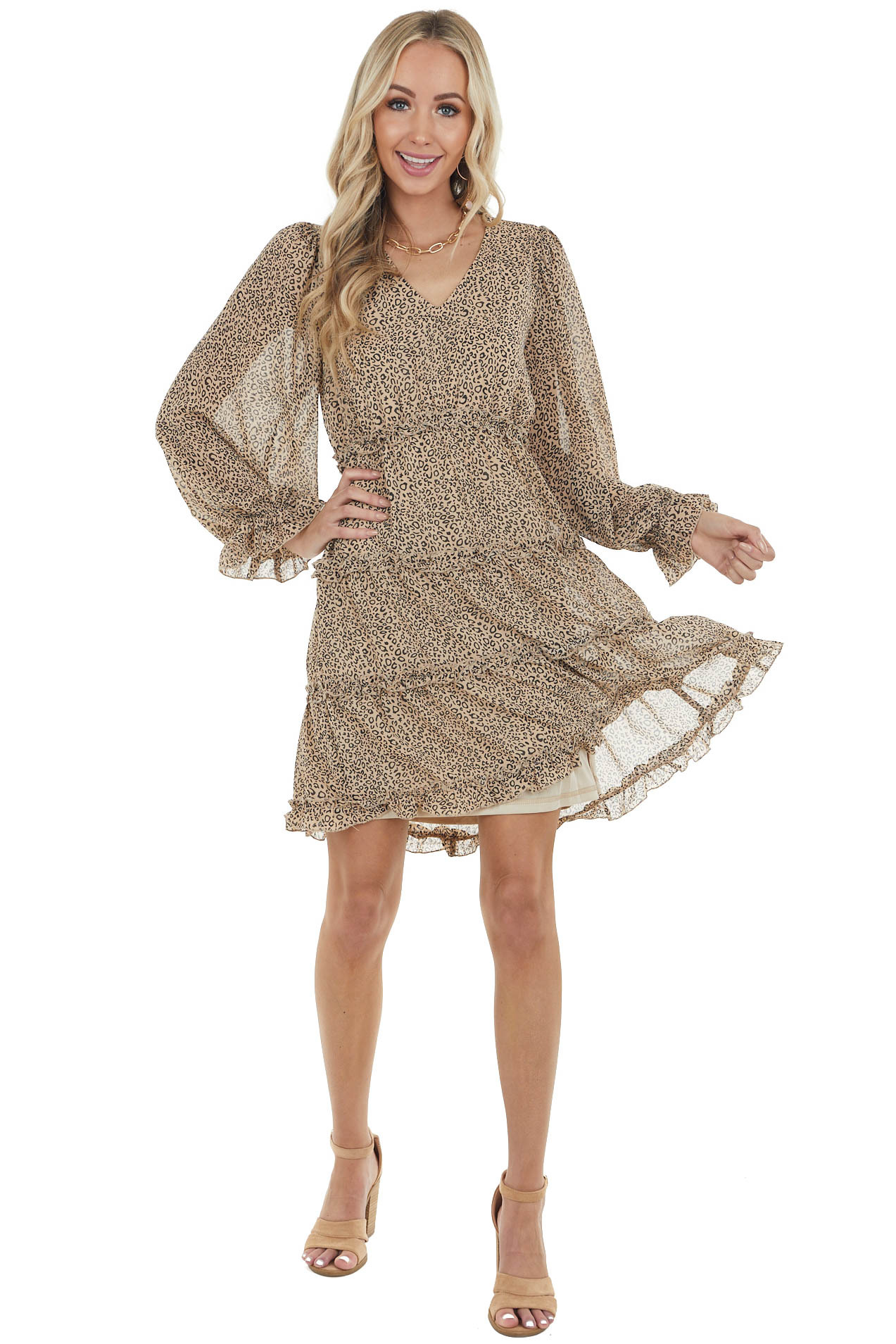 Latte Leopard Print Babydoll Tiered Long Sleeve Short Dress