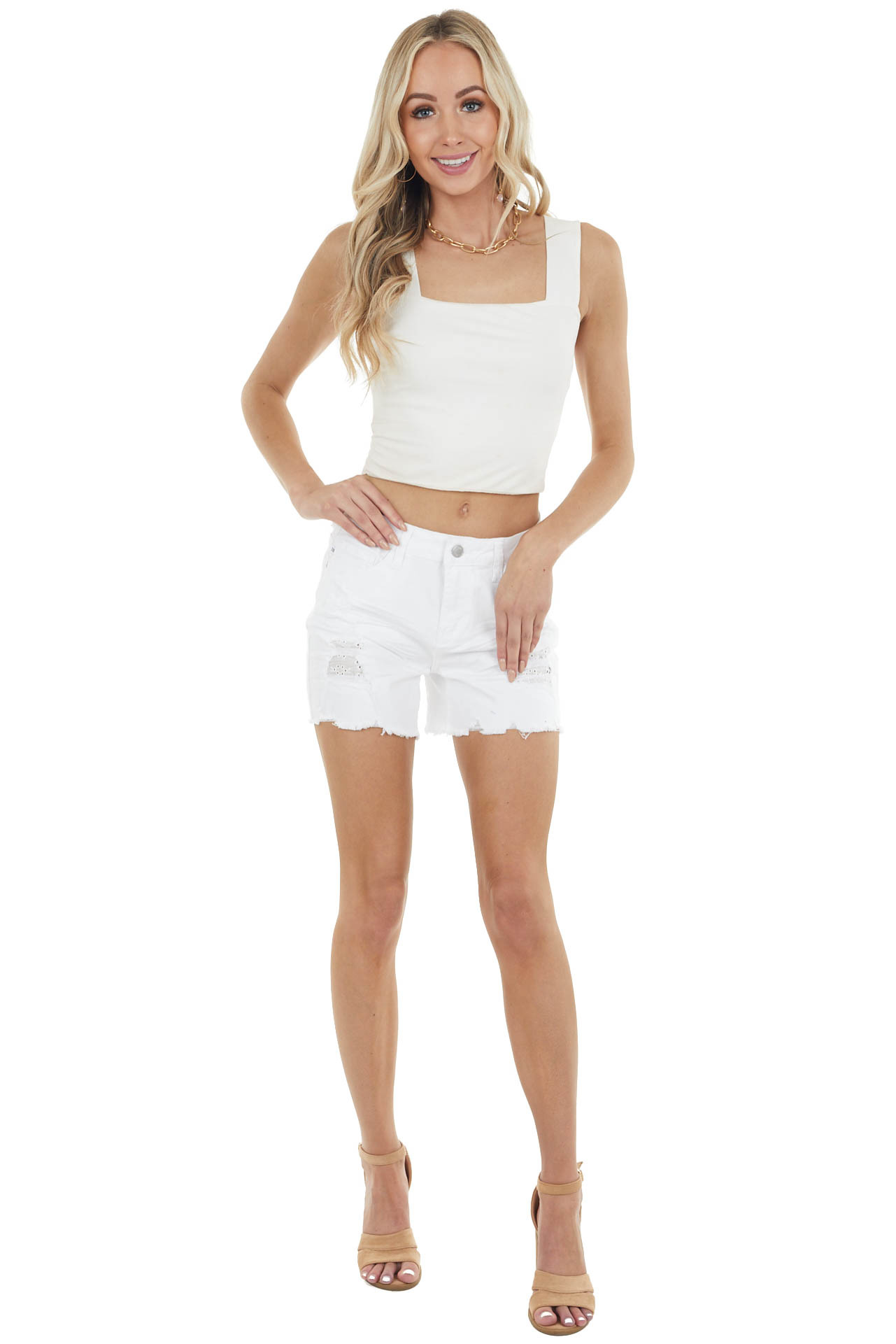 Pearl Mid Rise Distressed Shorts with Eyelet Lace Detail