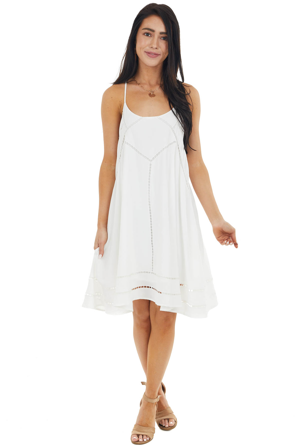 Ivory Swing Sleeveless Short Dress with Lace Detail