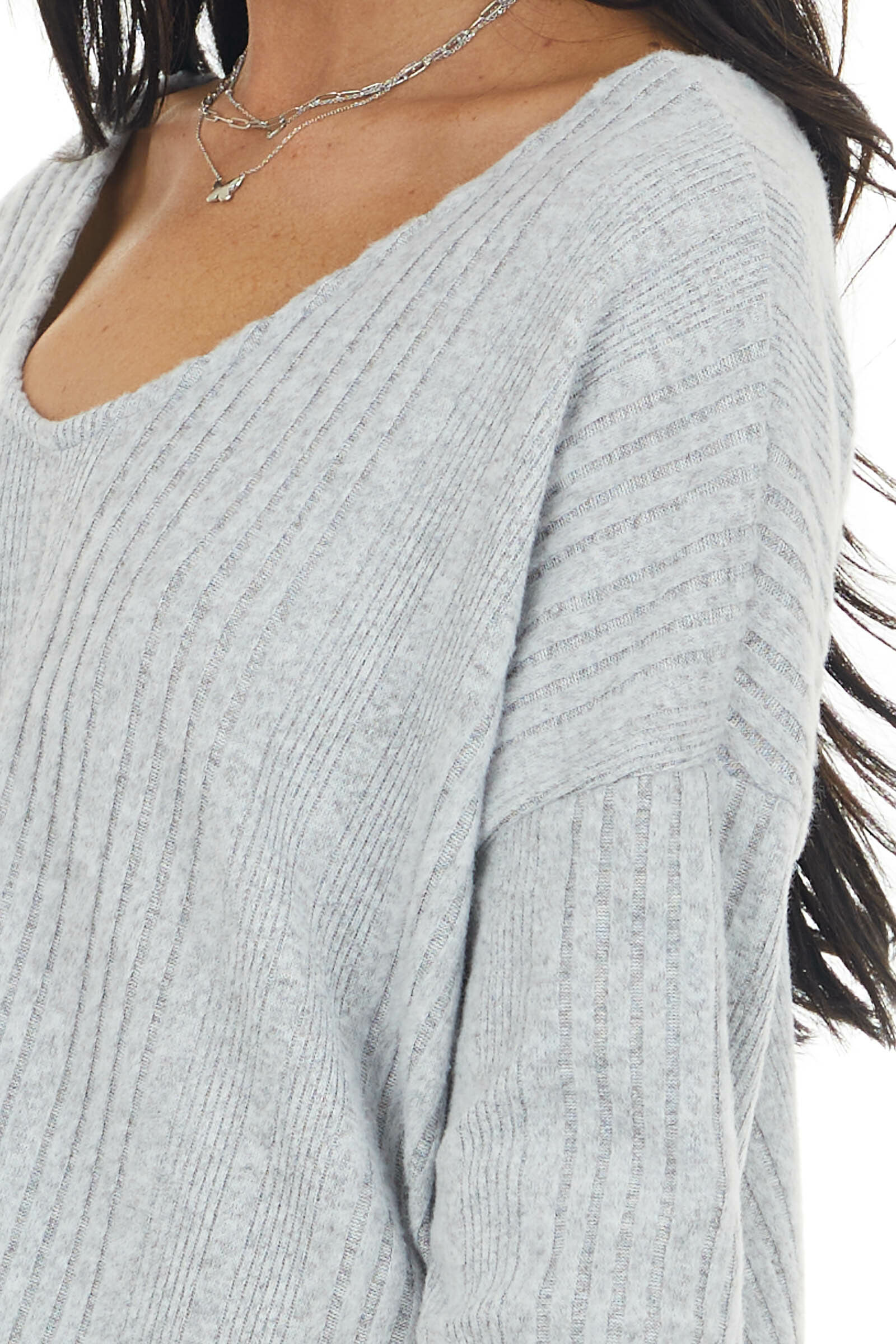 Dove Grey Long Sleeve Wide Neck Knit Top with Ribbed Detail