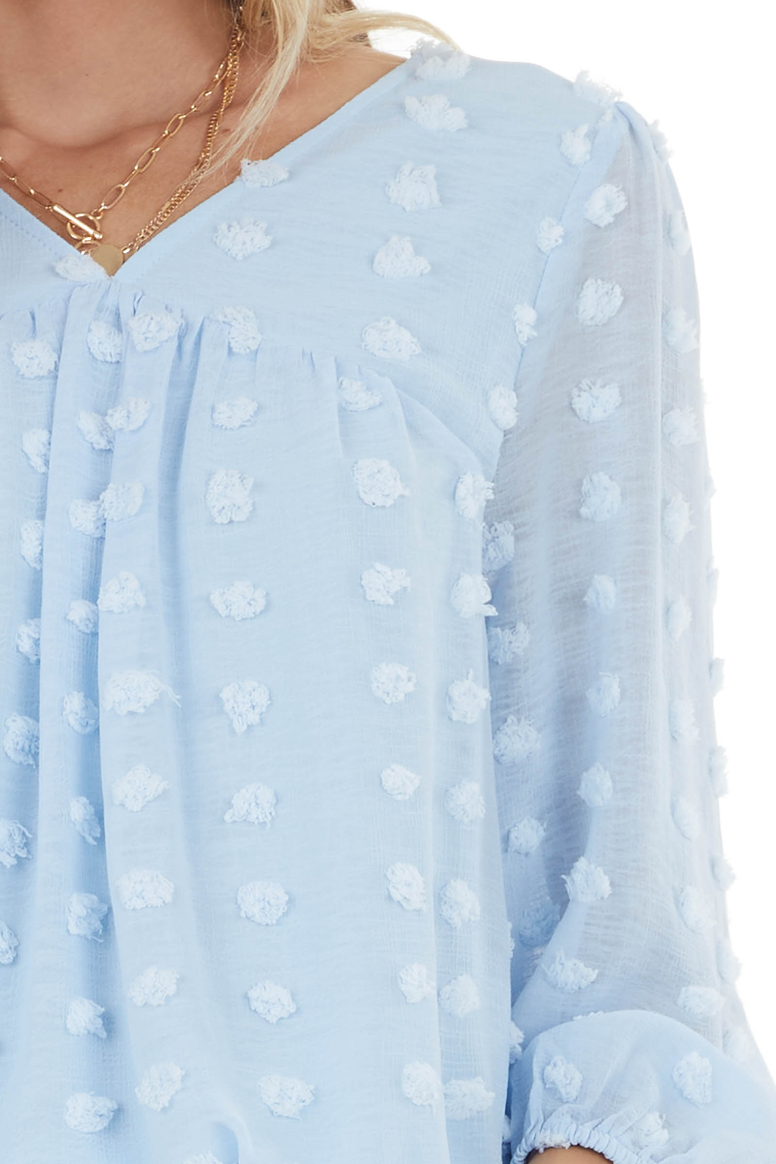 Baby Blue Swiss Dot Babydoll Top with Long Bubble Sleeves