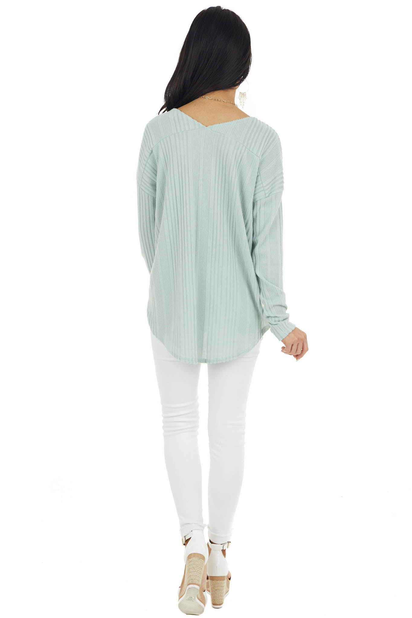 Sage Long Sleeve Wide Neck Knit Top with Ribbed Detail