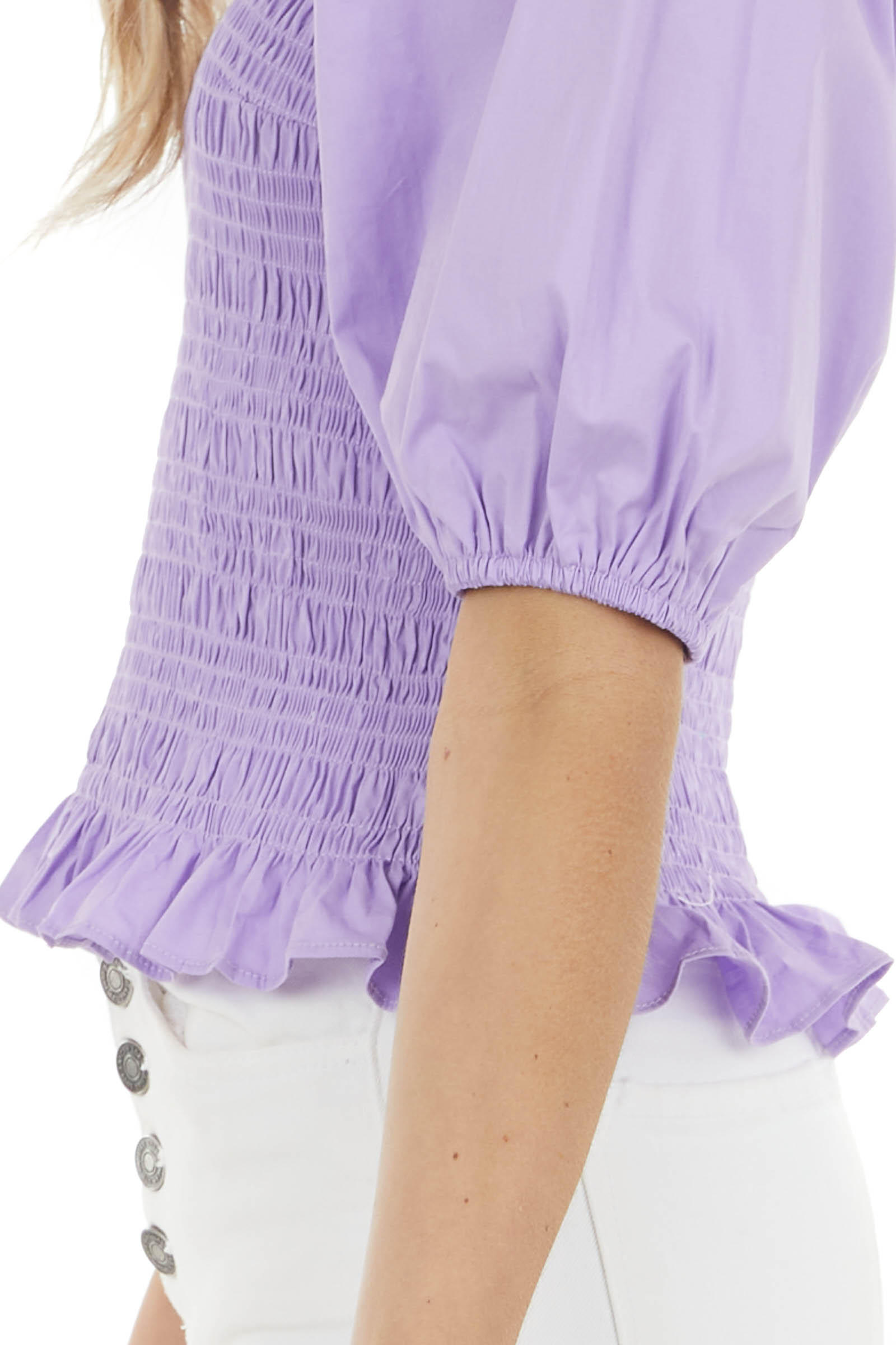 Lavender Square Neck Blouse with Smocked Bodice Detail
