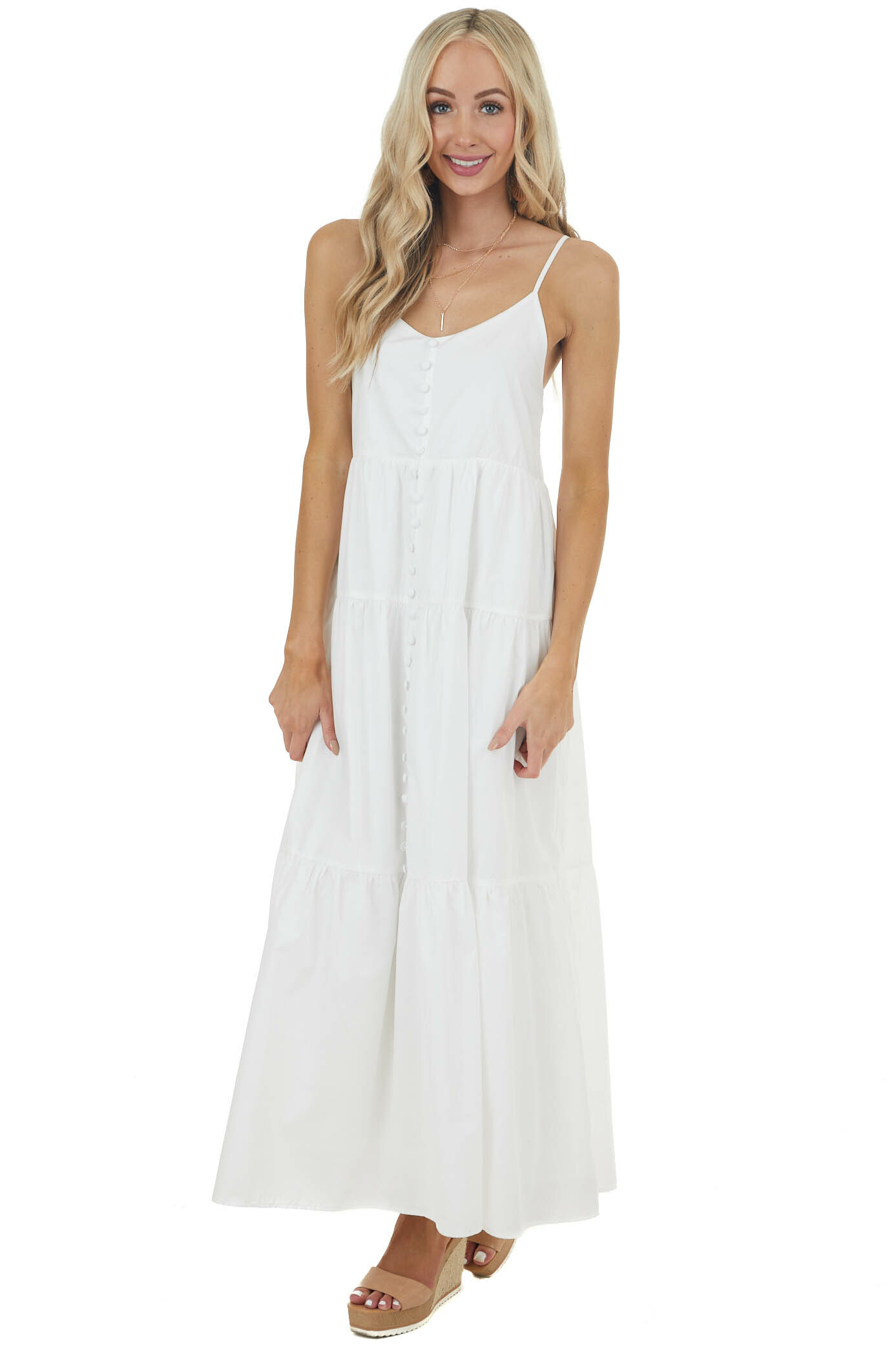 Ivory Sleeveless Tiered Maxi Dress with Button Details