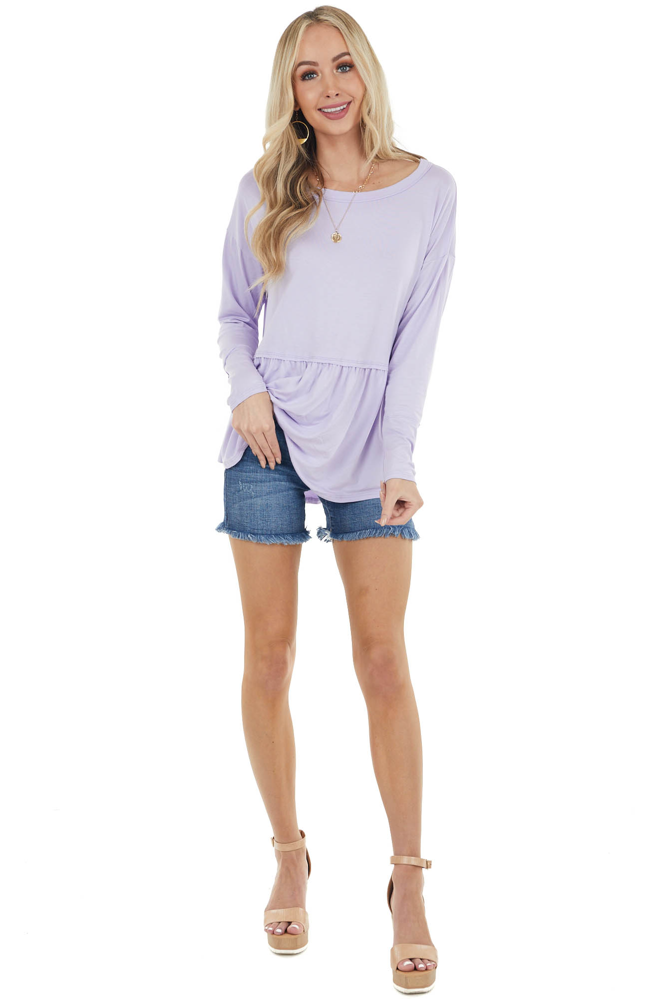 Periwinkle Drop Waist Long Sleeve Knit Top with Raw Edges