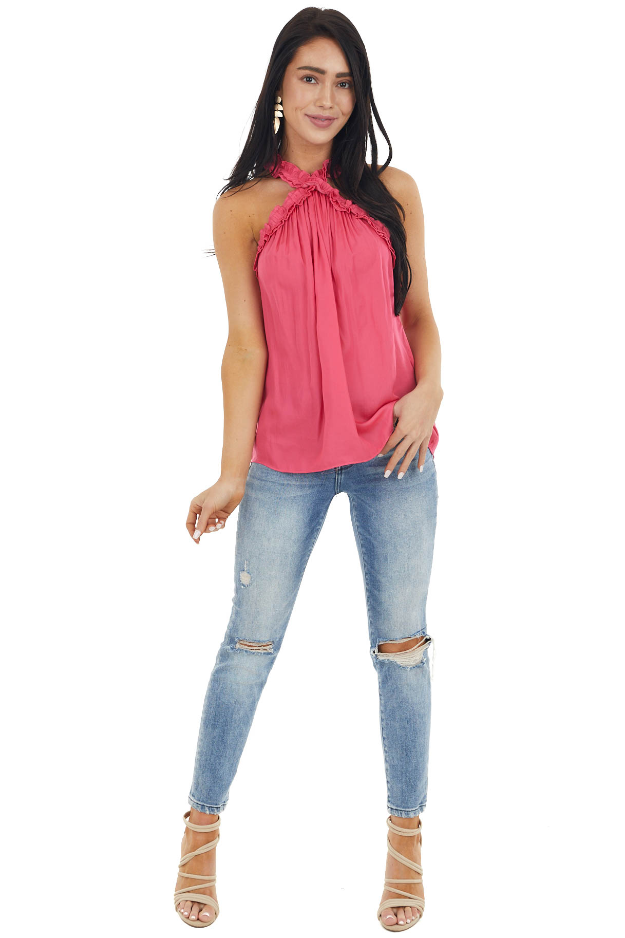 Hot Pink Halter Neck Sleeveless Top with Frill Detail