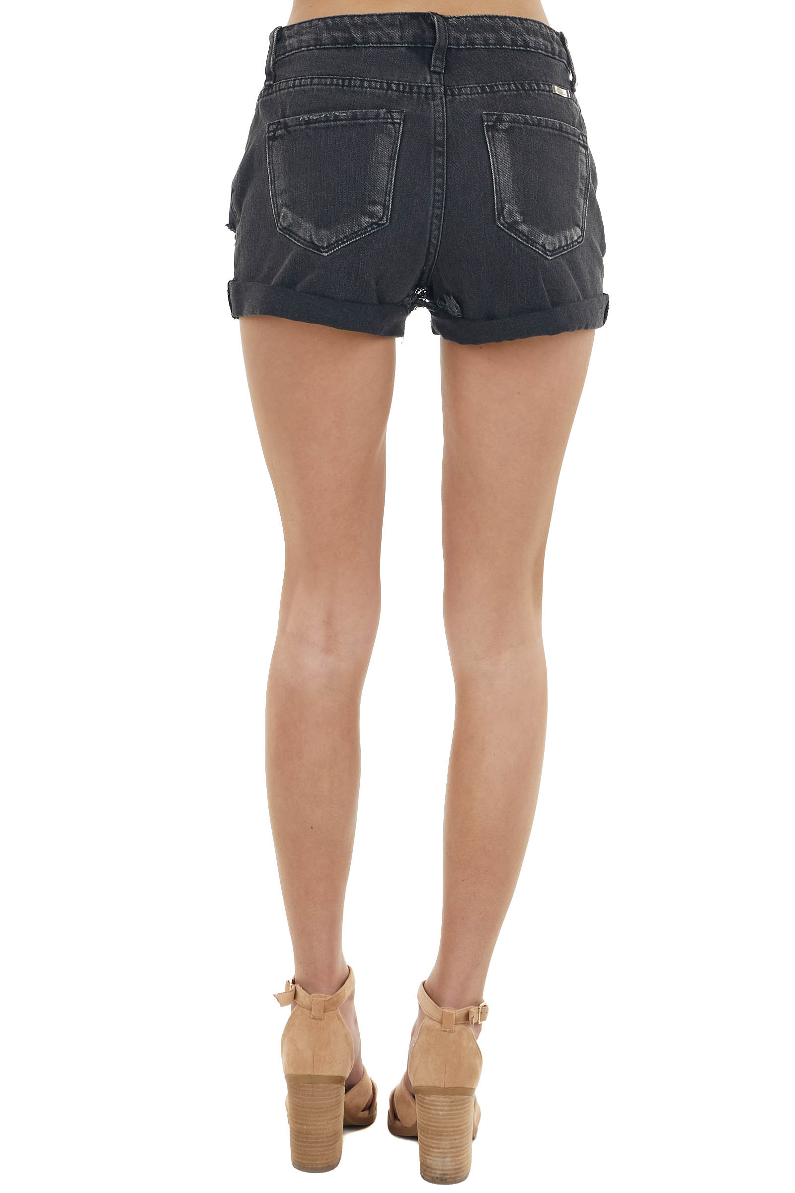 Faded Black Distressed High Rise Jean Shorts with Cuffed Hem