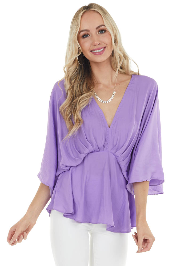 Lilac V Neck Drop Waist Blouse with Flutter Sleeves