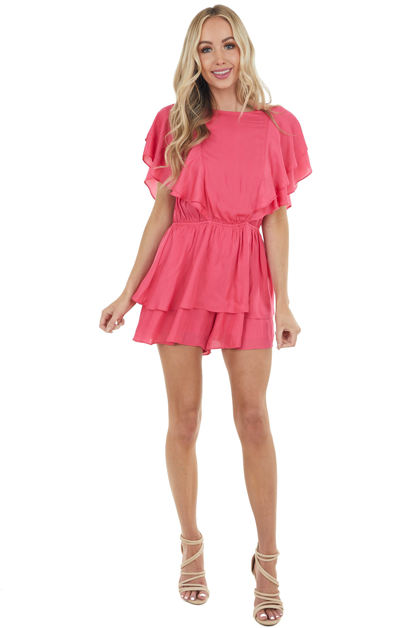 Punch Pink Tiered Ruffled Romper with Short Flutter Sleeves