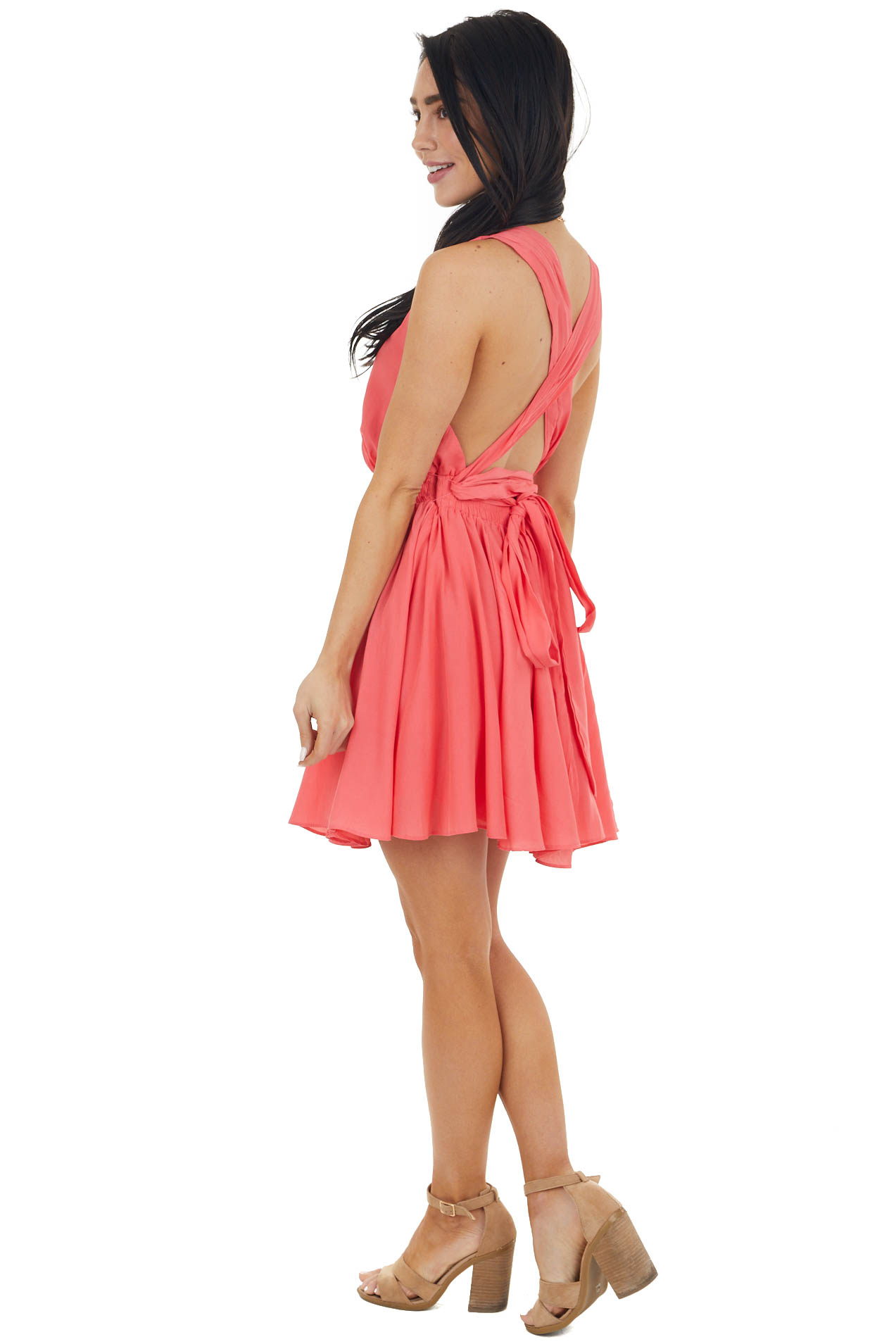 Dark Punch Mini Dress with Open Back and Criss Cross Tie