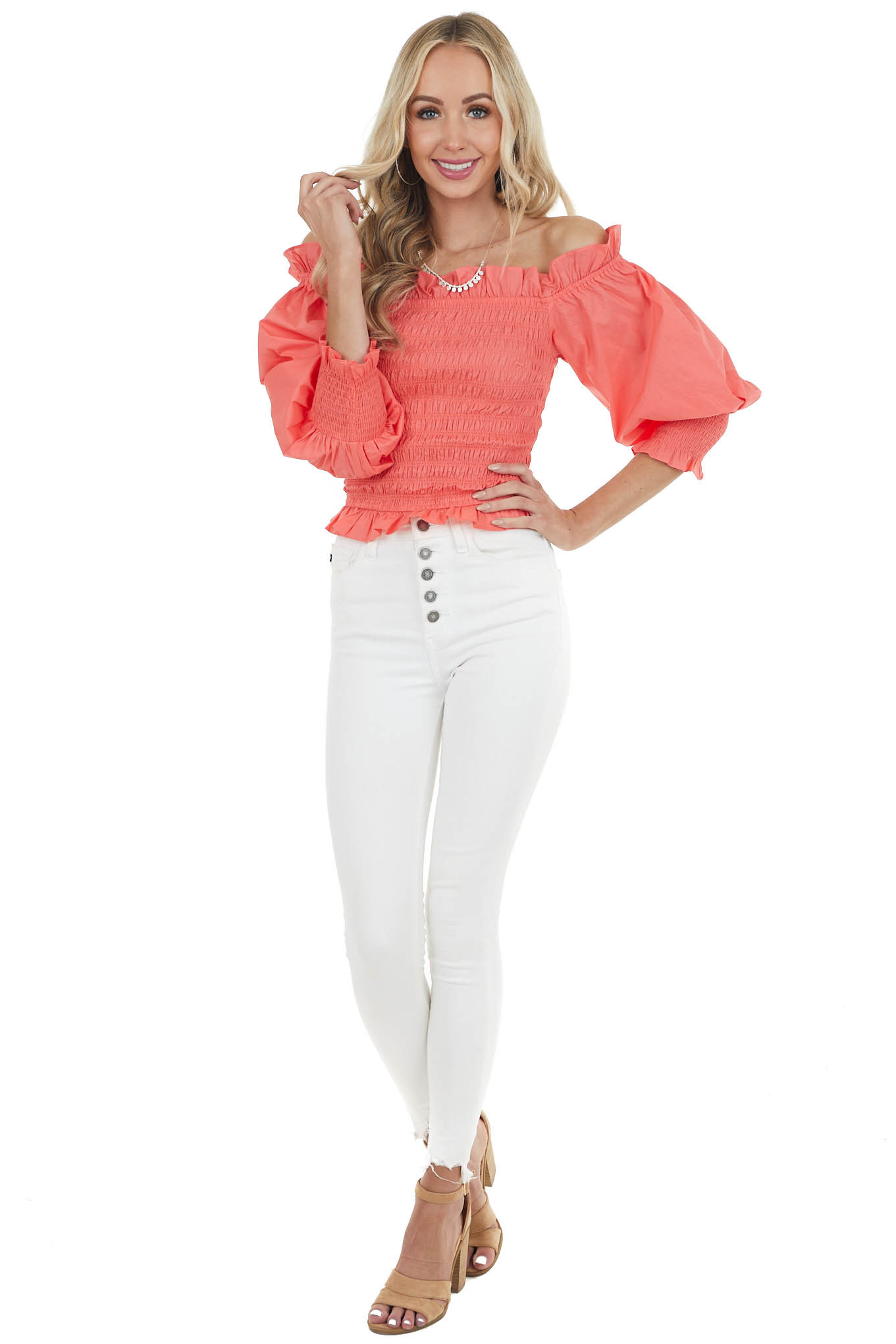Bright Coral Smocked Off the Shoulder Top with Long Sleeves