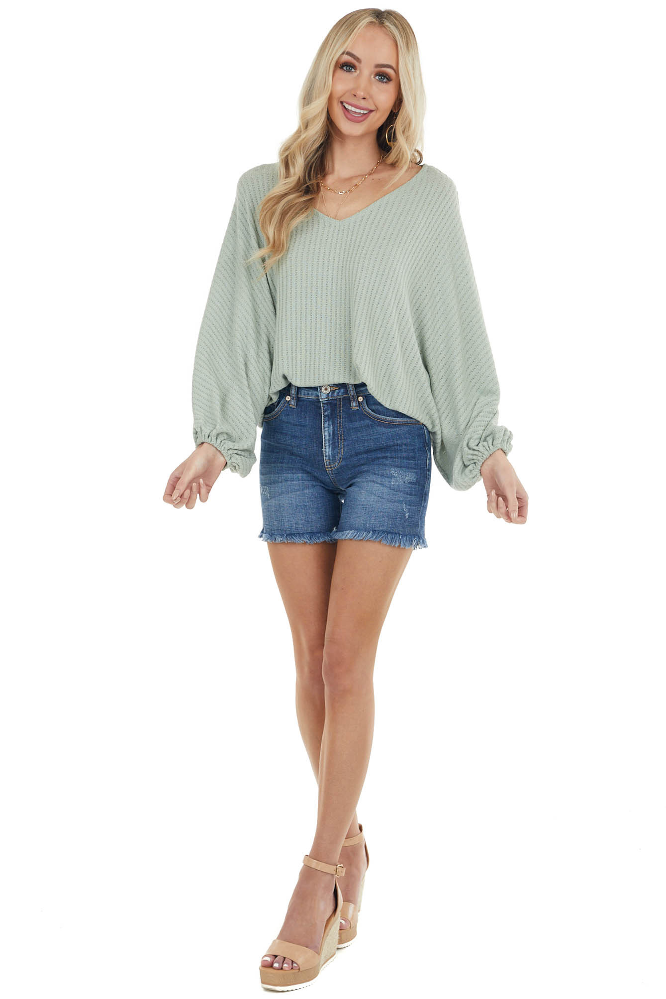 Sage Textured Knit Long Bubble Sleeve Top with Elastic Waist