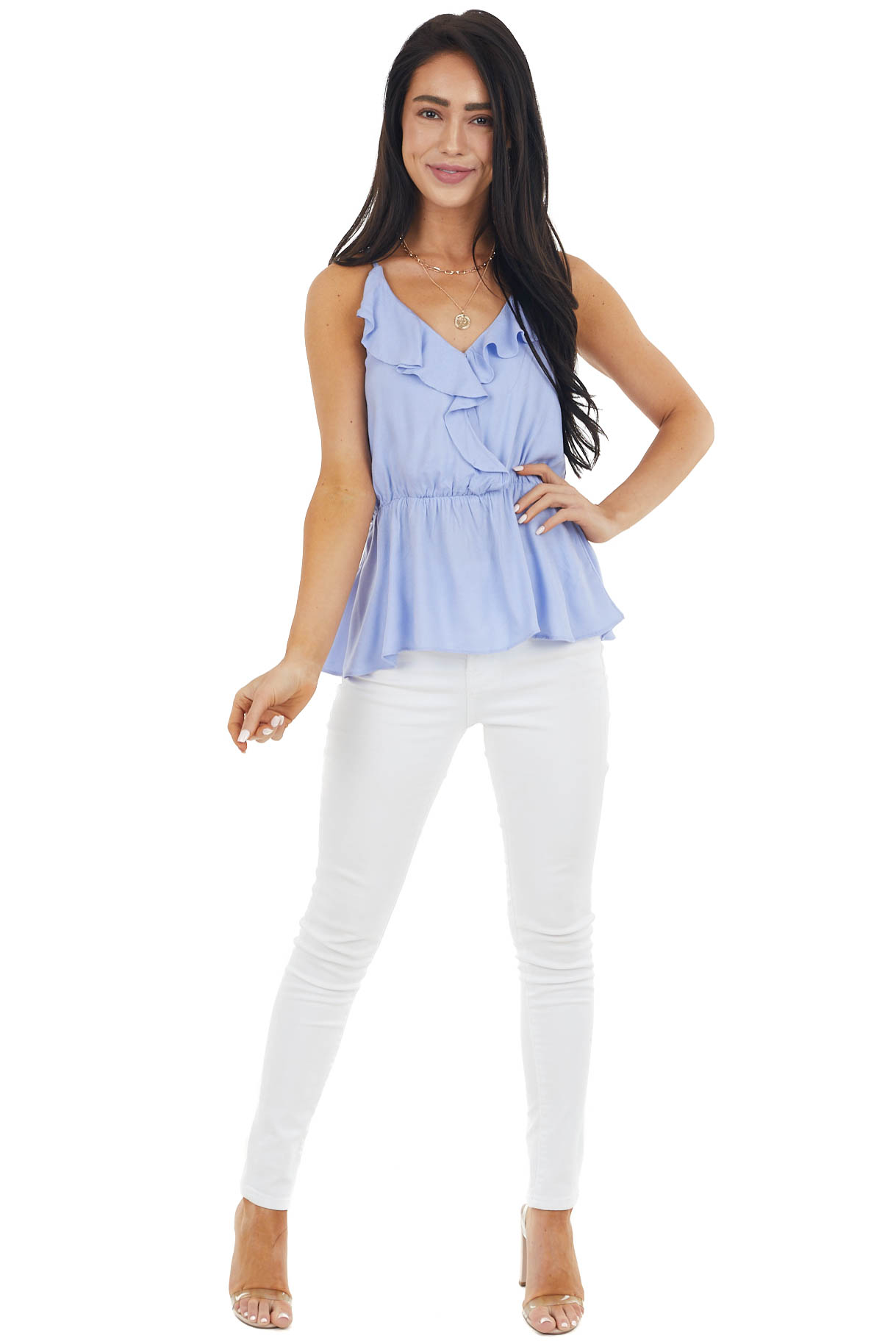 Periwinkle Sleeveless Surplice Blouse with Open Lace Up Back