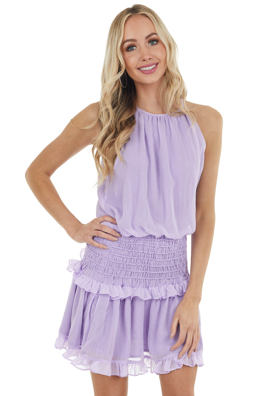 Lavender Halter Mini Dress with Smocked Ruffle Detail