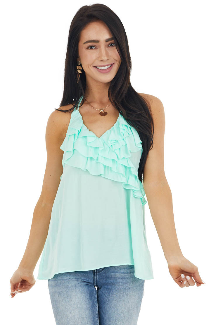 Mint Green Halter Neck Open Back Top with Ruffle Details