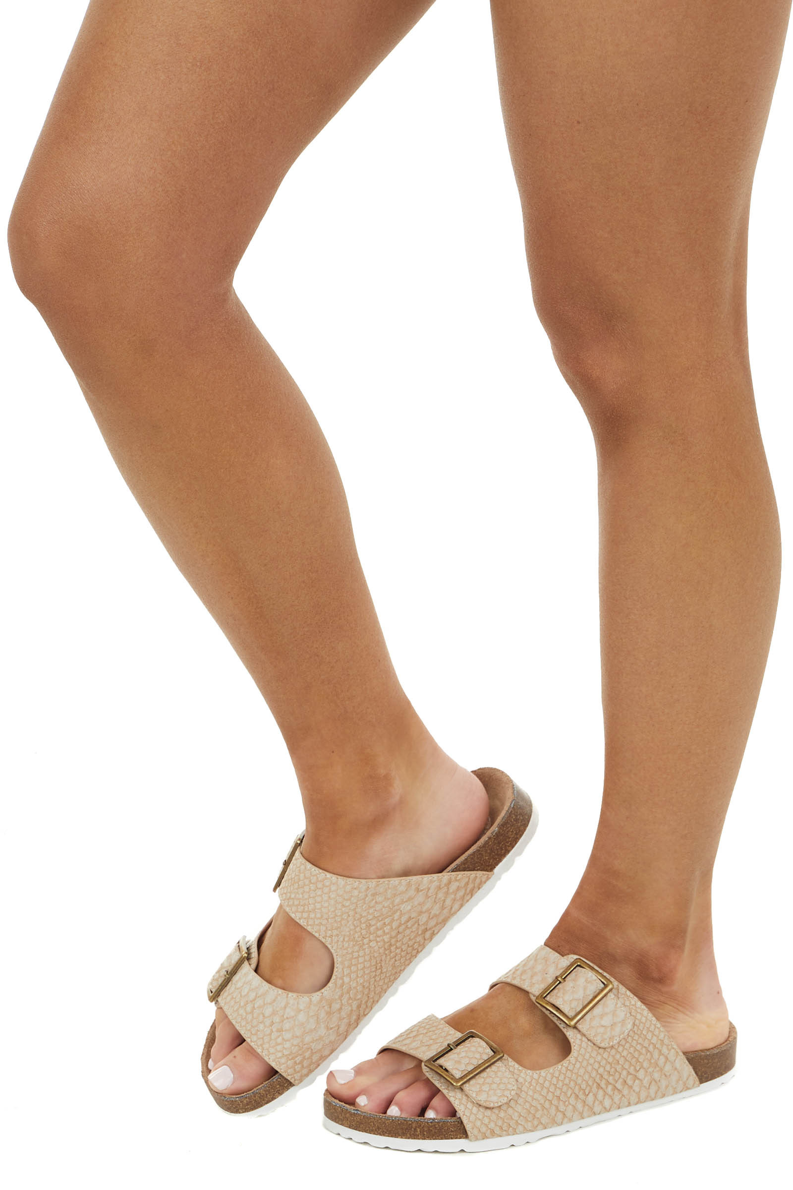 Latte Faux Snakeskin Flat Sandal with Buckle Details
