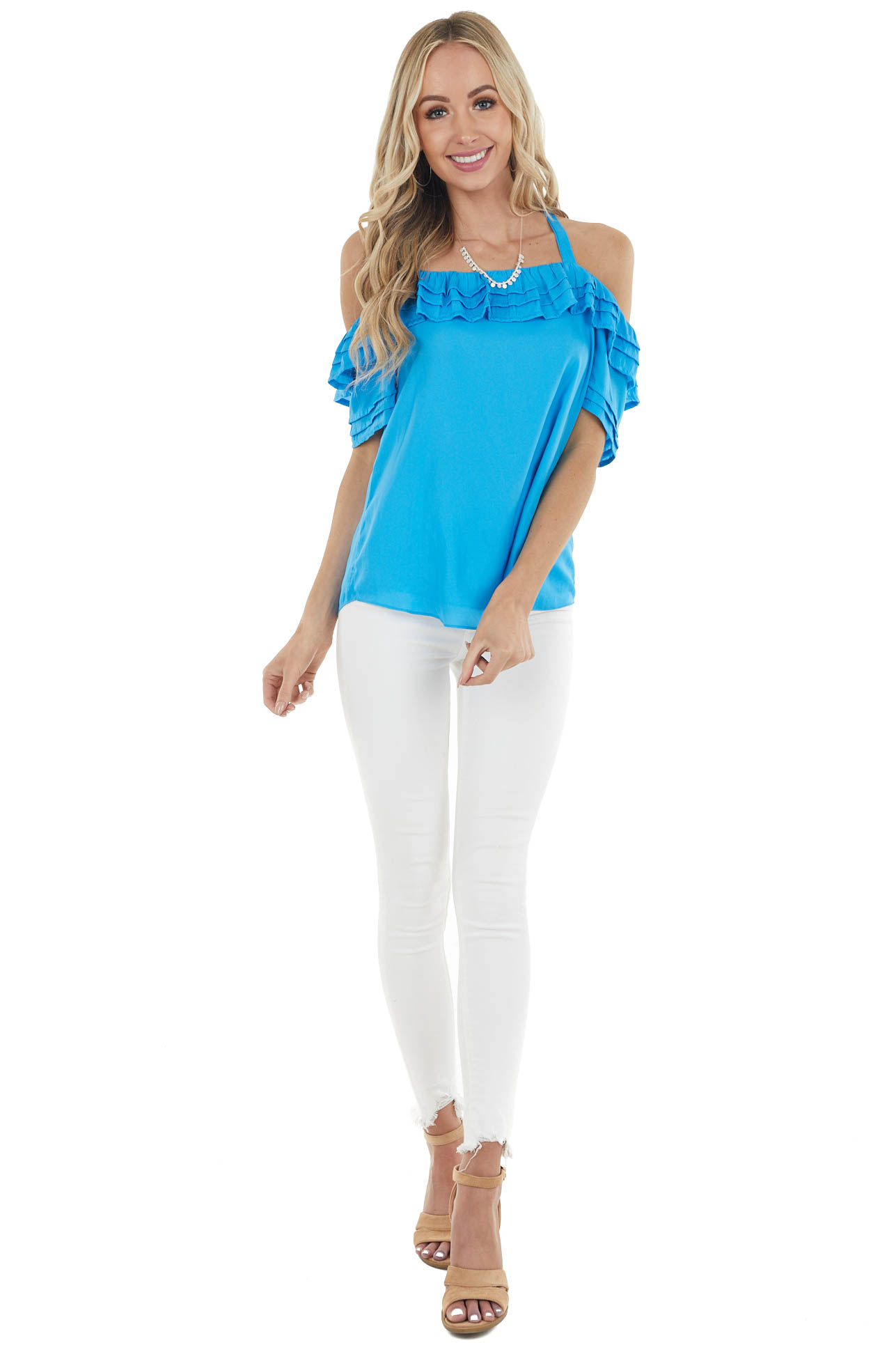 Cobalt Blue Cold Shoulder Blouse with Ruffle Detail
