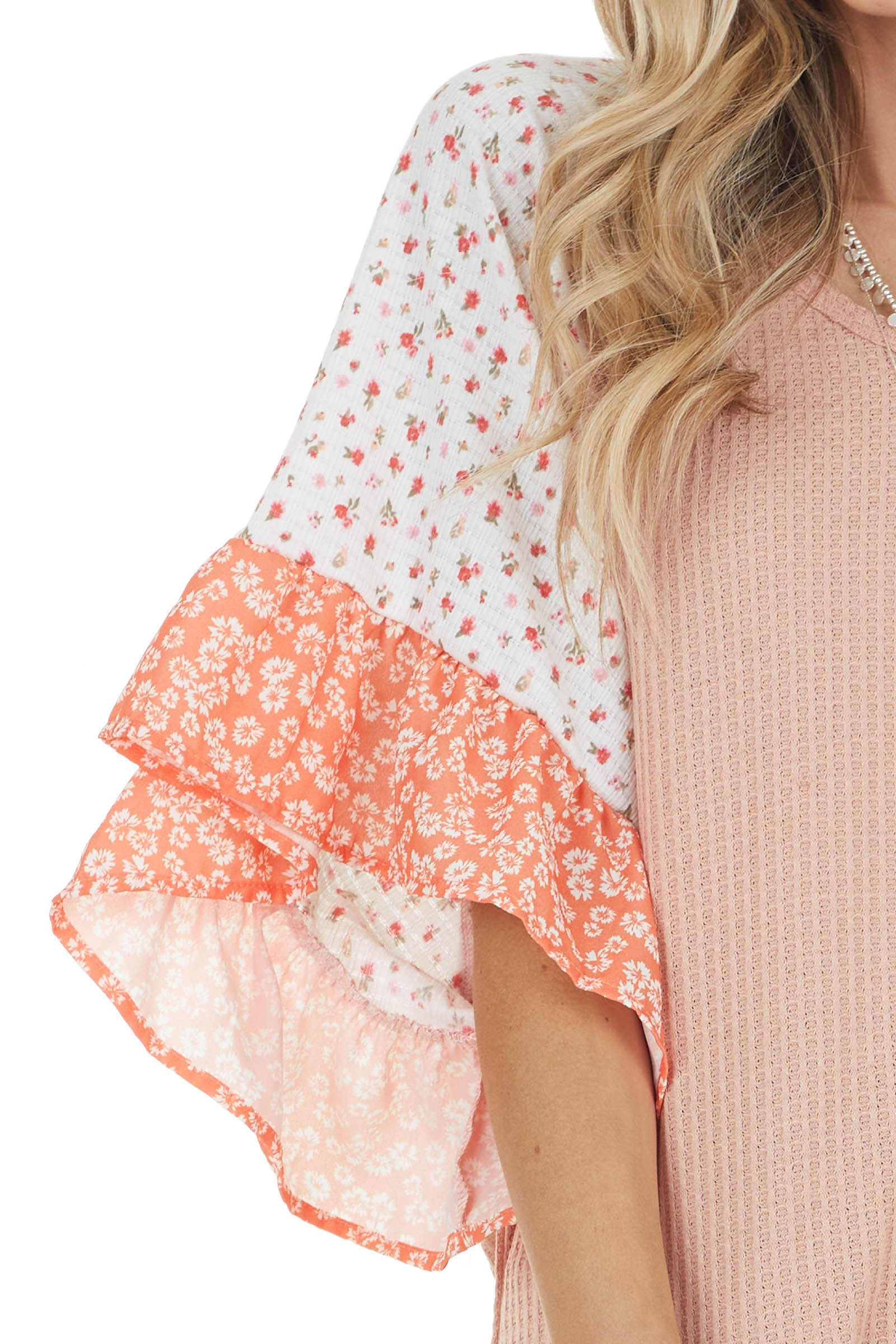 Dusty Coral Waffle Knit Top with Floral Print Ruffle Sleeves