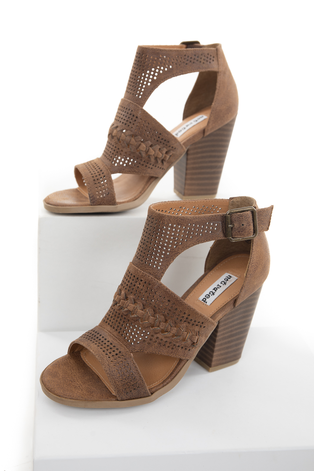 Walnut Faux Suede Open Toe High Heel with Buckle Detail