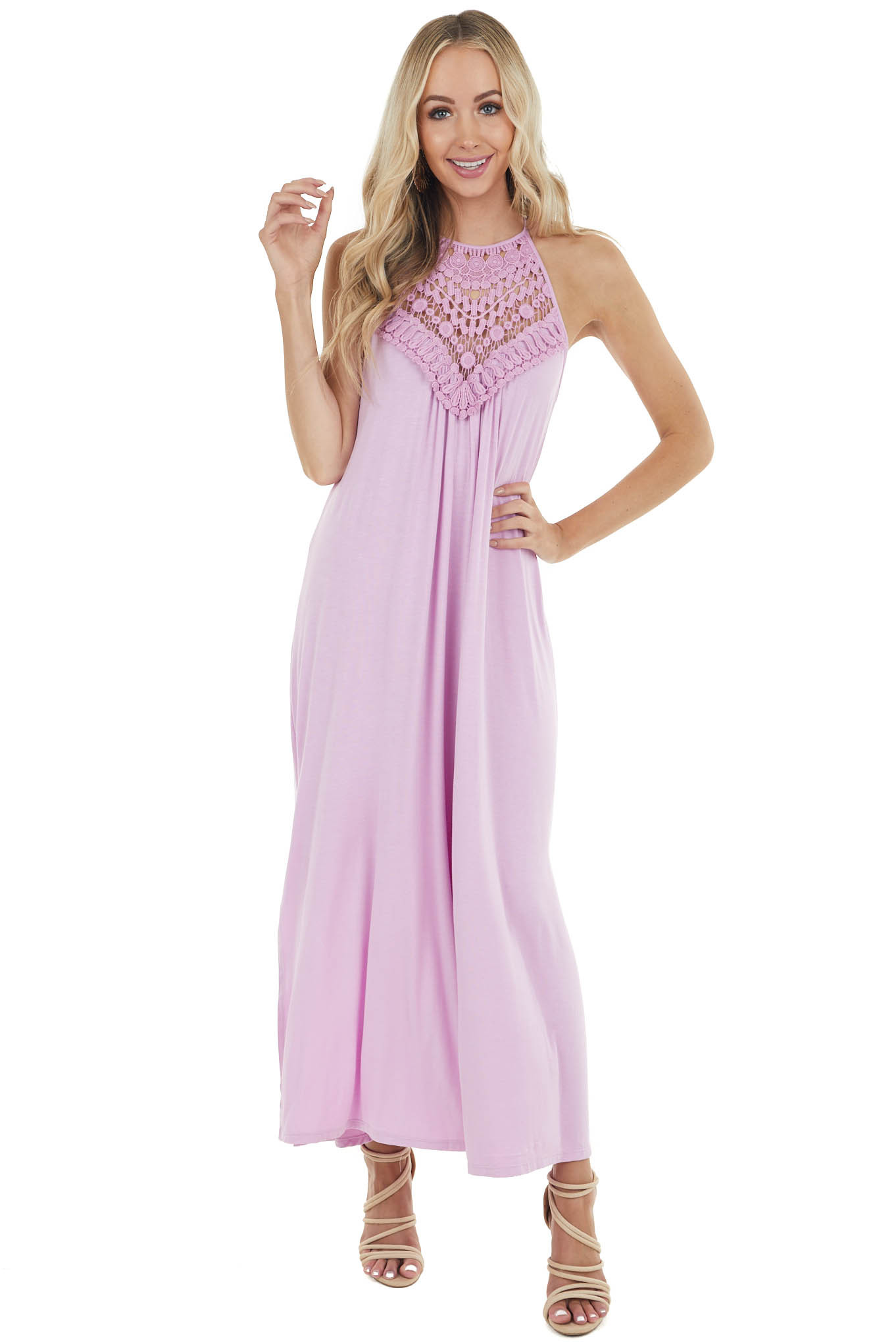 Pale Iris Sleeveless Maxi Dress with Front Lace Detail