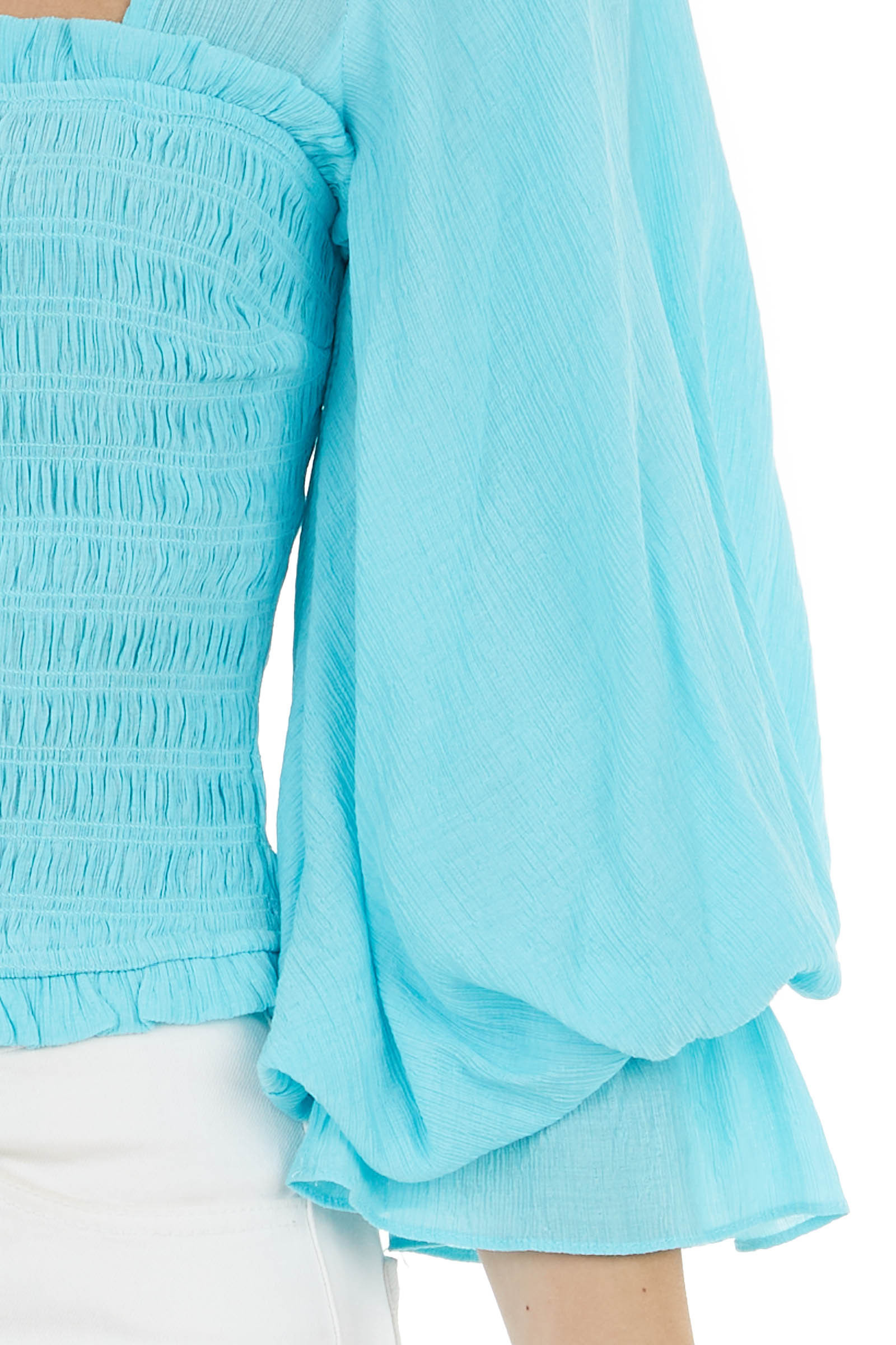Turquoise Textured Smocked Top with Long Puff Sleeves