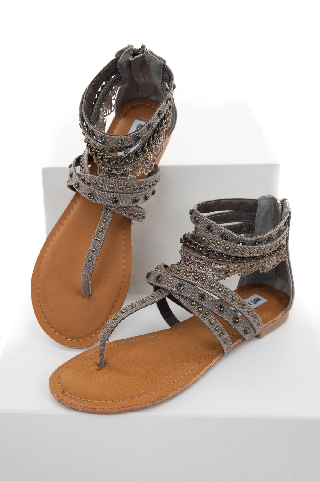 Stone Grey and Gold Strappy Flat Sandal with Embellishments
