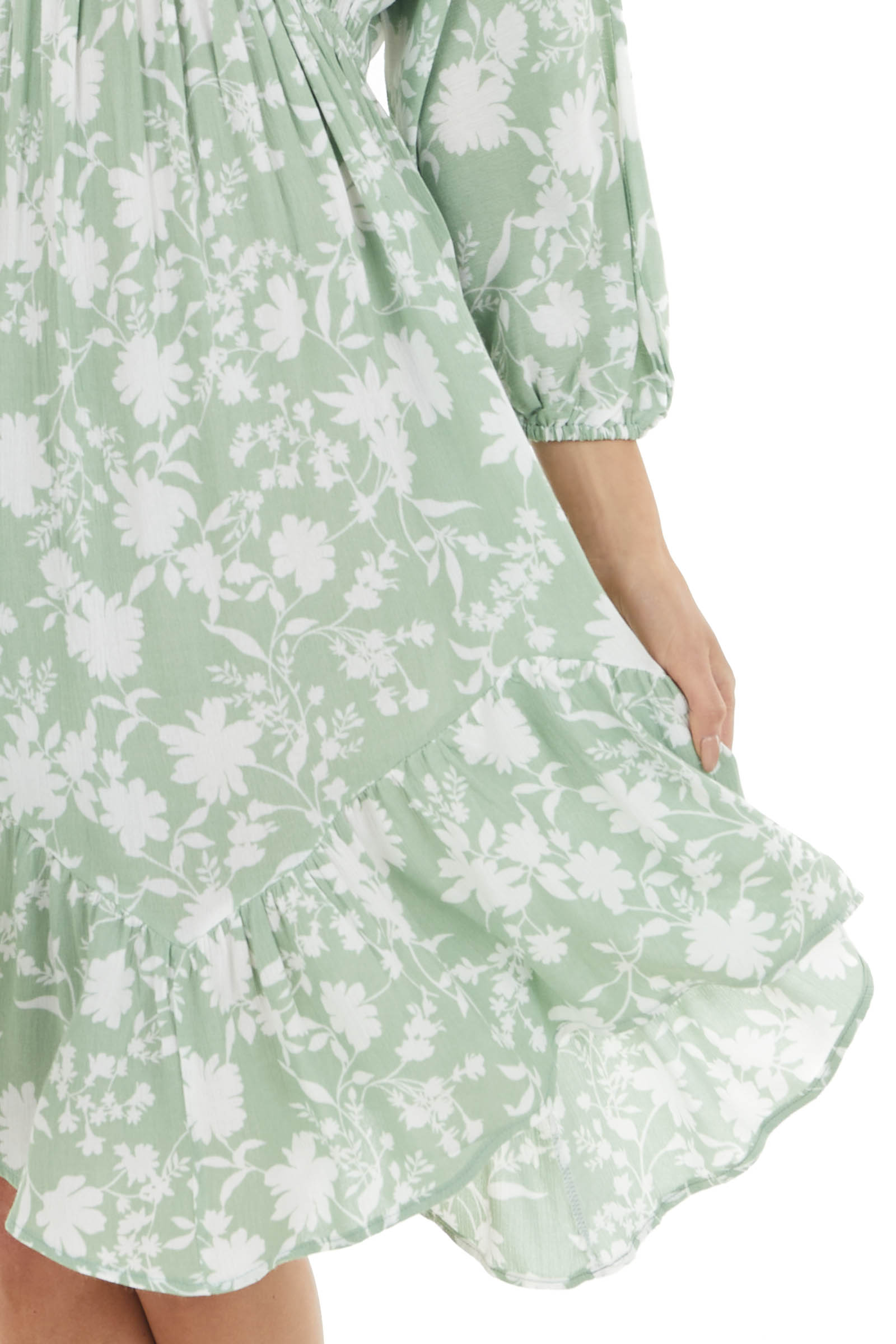 Pistachio and White Floral Dress with Bubble Sleeves