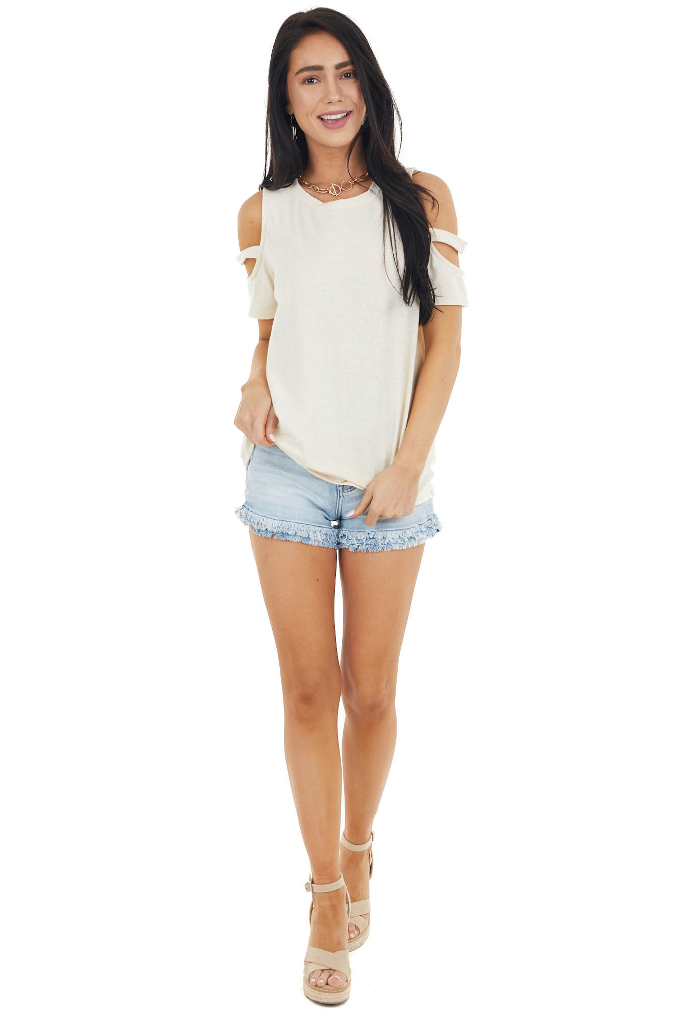 Vanilla Short Sleeve Stretchy Knit Top with Cold Shoulder