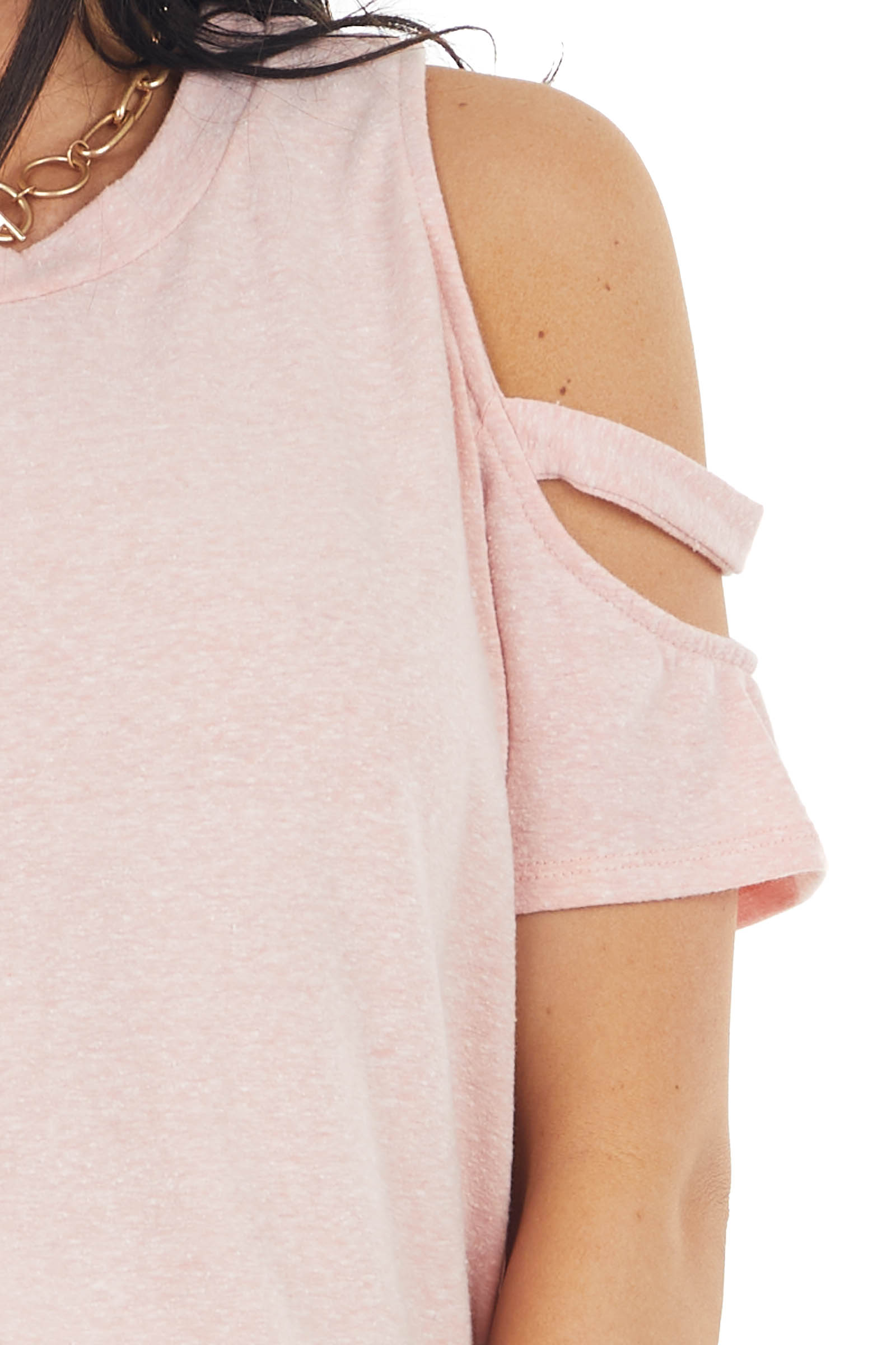Peach Short Sleeve Stretchy Knit Top with Cold Shoulder