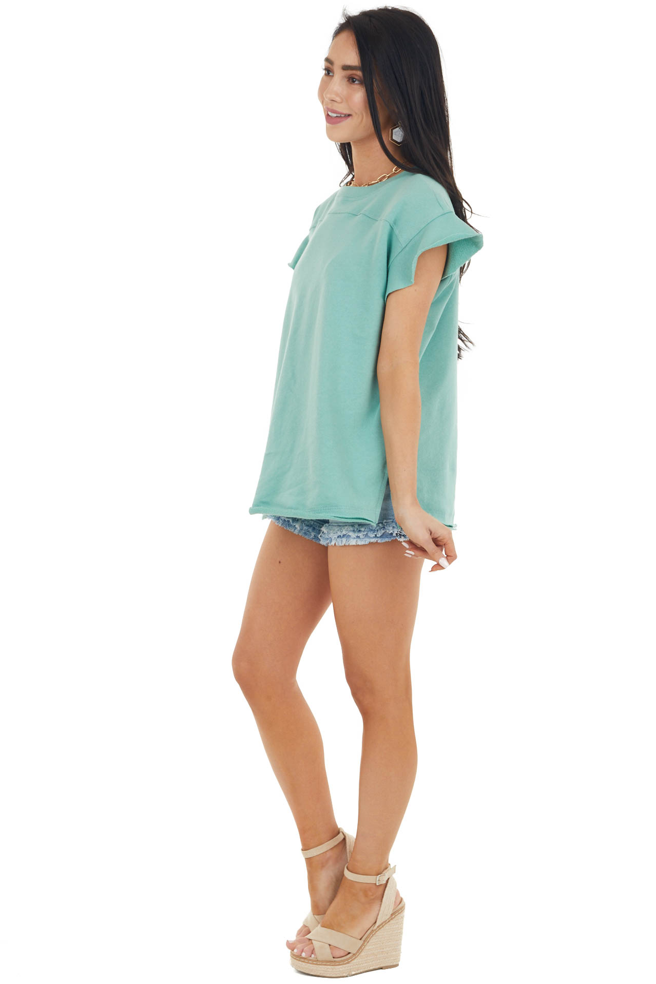 Juniper Short Sleeve French Terry Knit Top with Side Slits