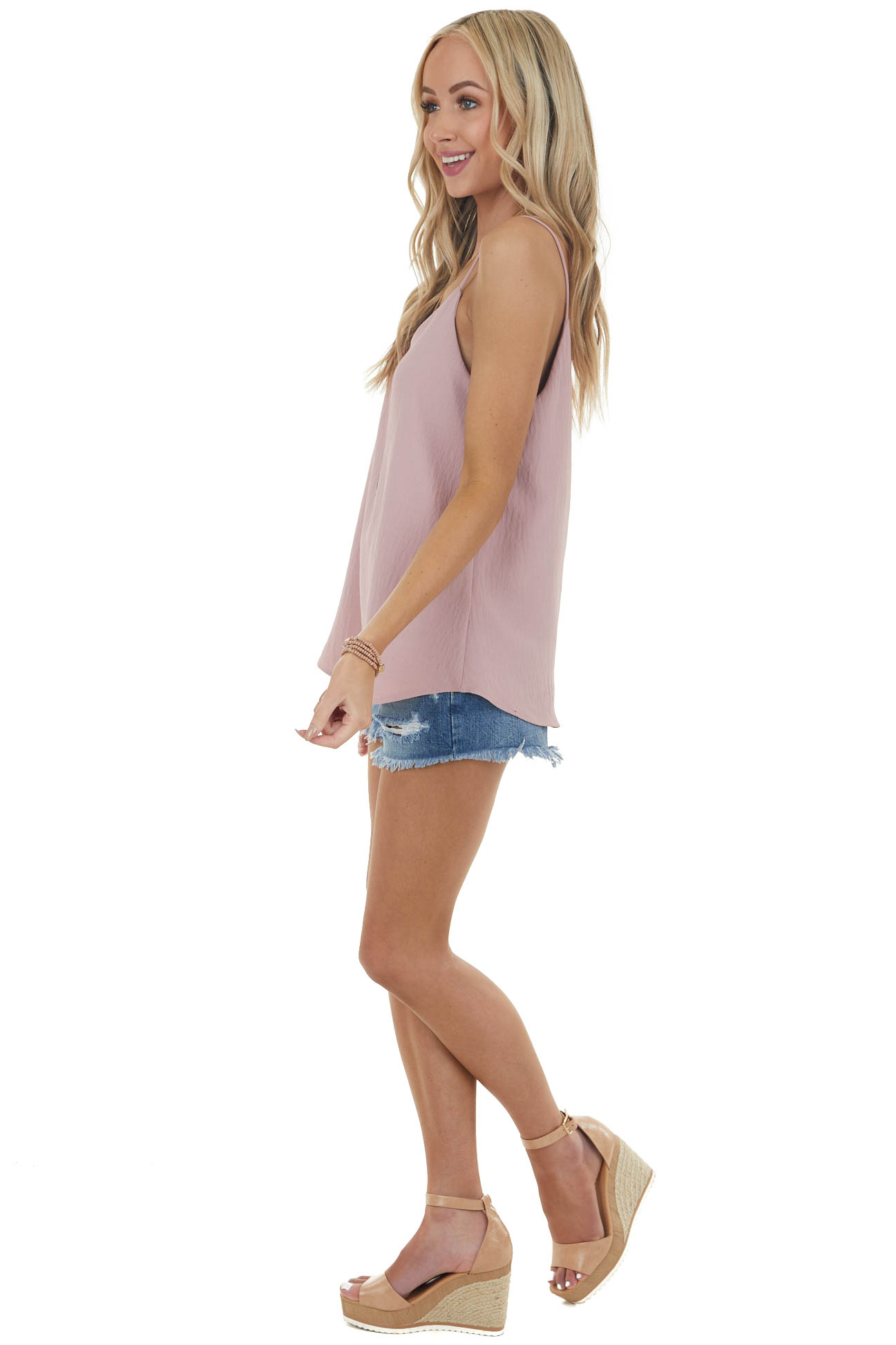 Dusty Rose Sleeveless Woven Top with Rounded Hemline