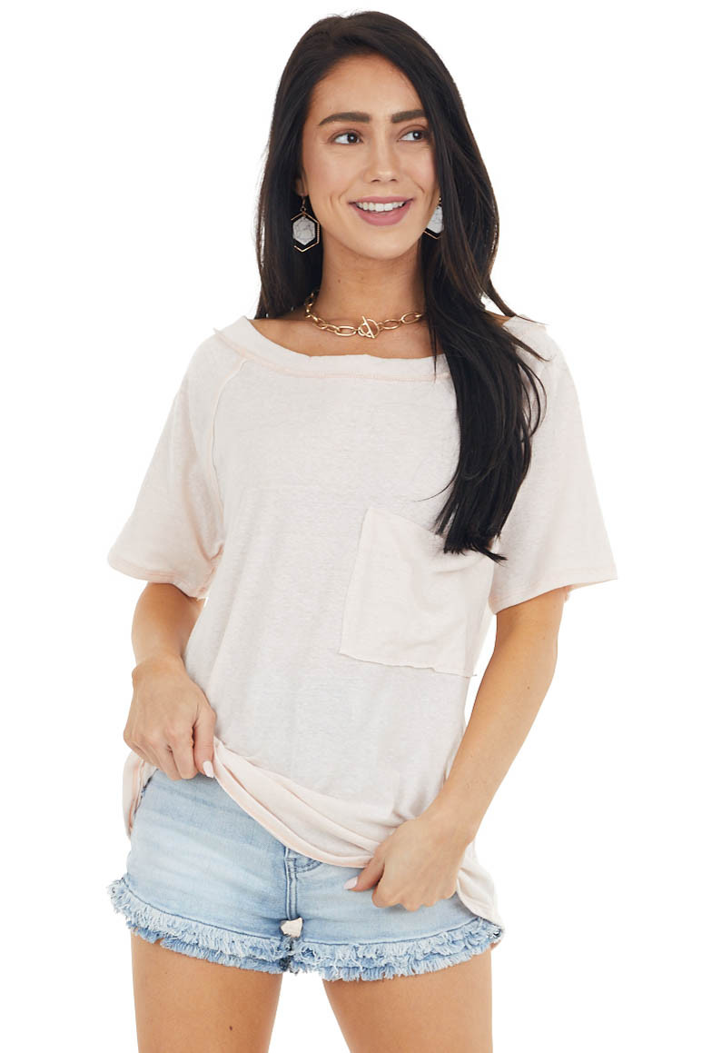 Blush Two Tone Short Sleeve Knit Top with Raw Details