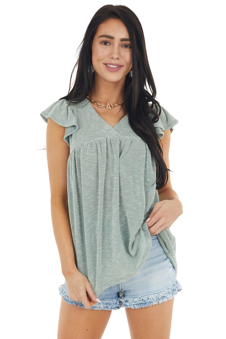 Sage and Ivory Two Tone Ribbed Short Flutter Sleeve Top