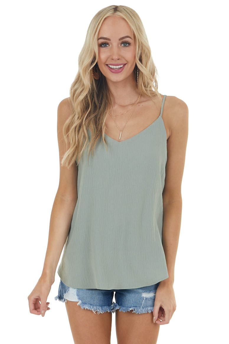 Sage Sleeveless Woven Top with Rounded Hemline