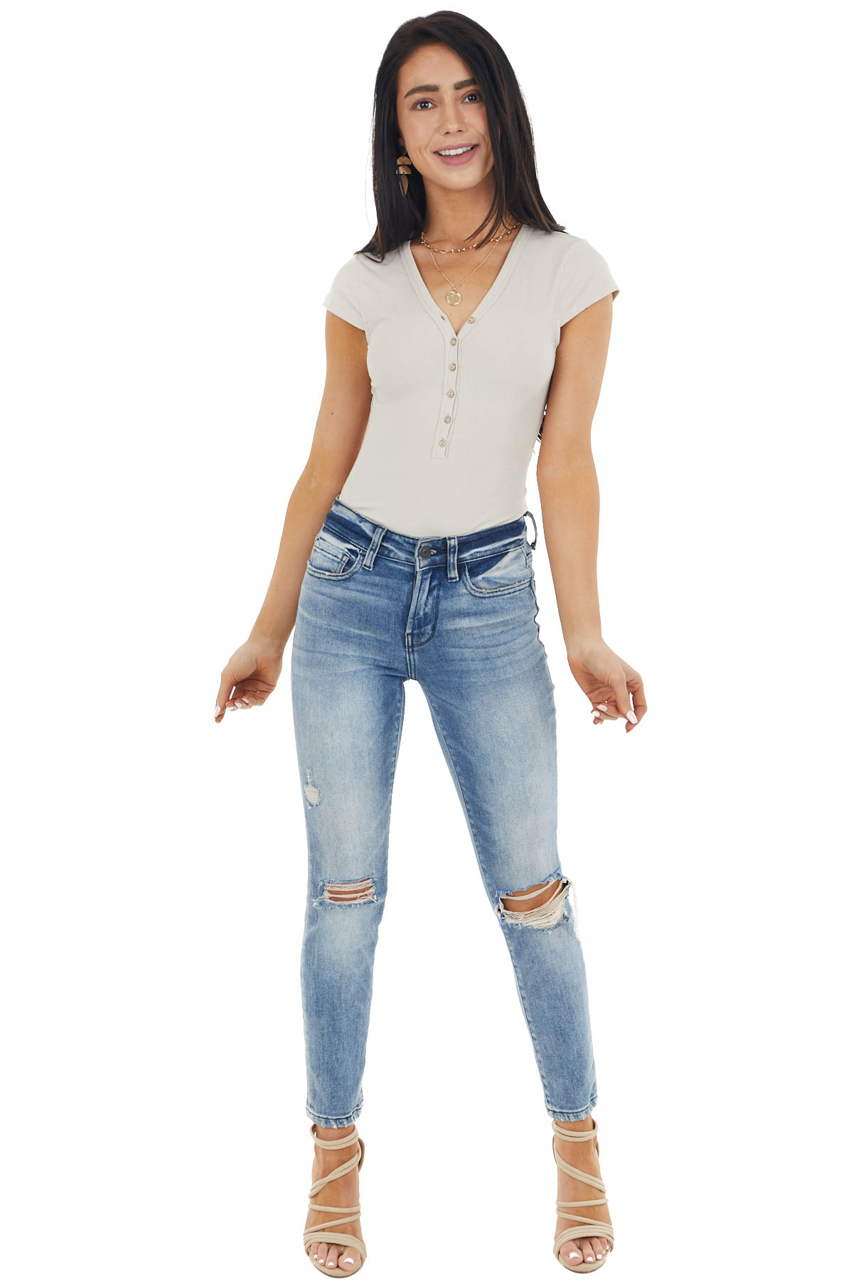 Oatmeal Ribbed Knit Button Up Bodysuit with Short Cap Sleeve