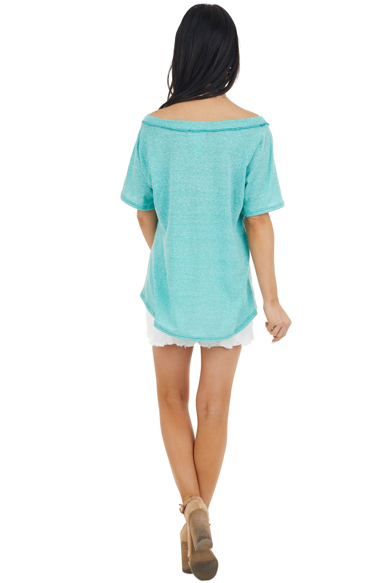 Jade Two Tone Short Sleeve Knit Top with Raw Details
